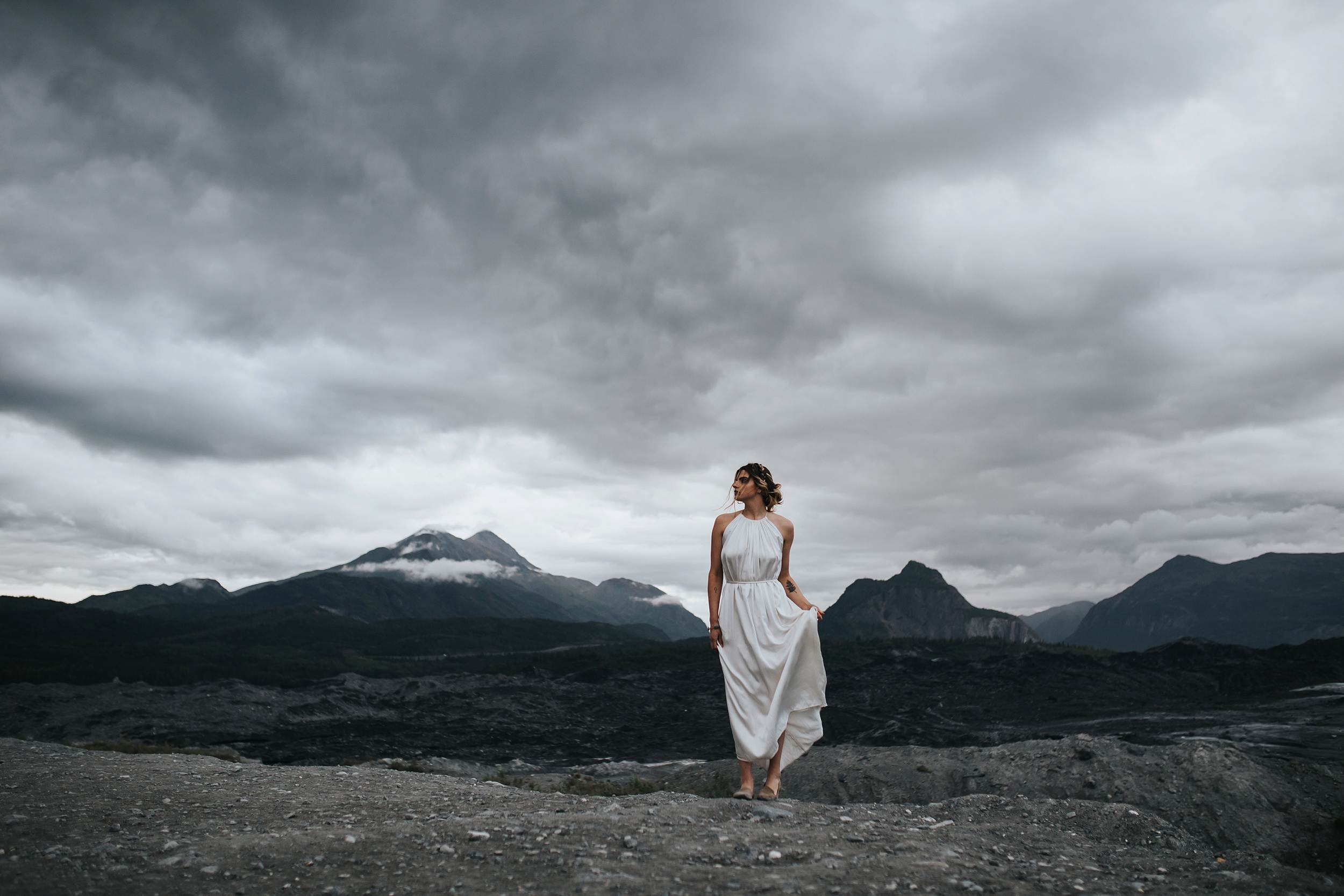 dramatic sky and bride
