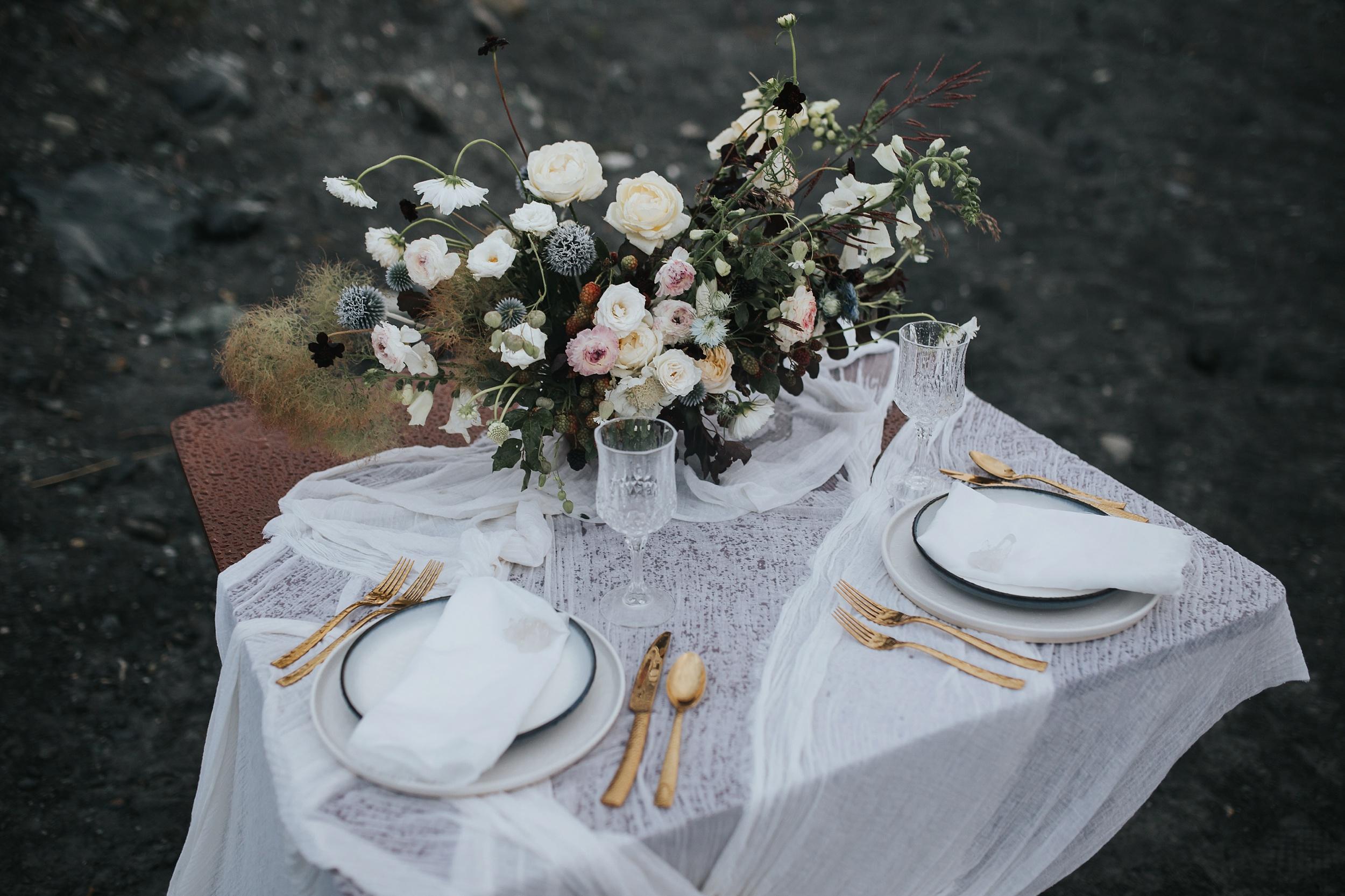 glacier wedding tablescape