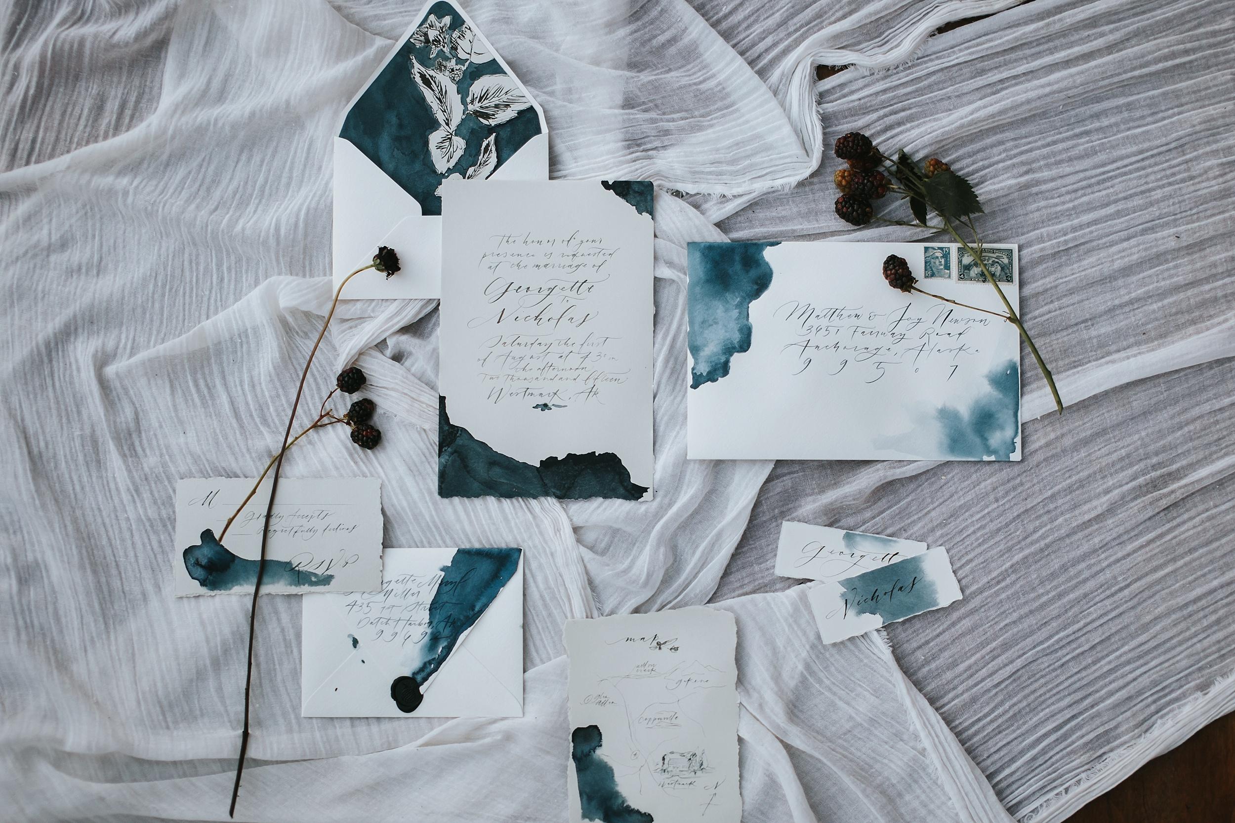 glacier wedding invitations