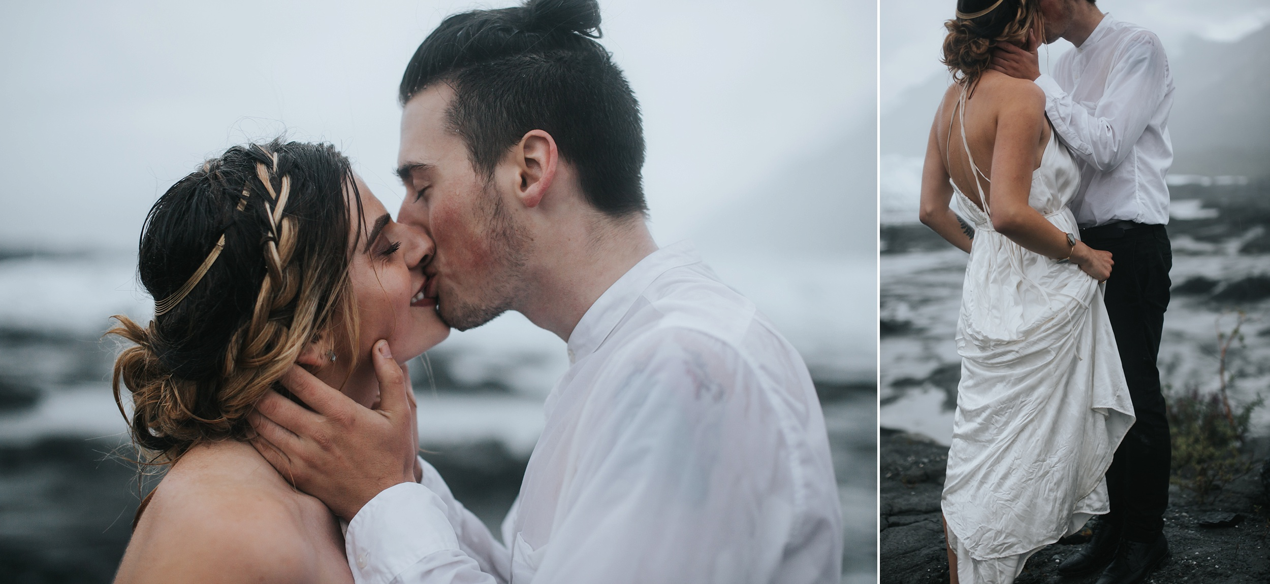 rainy outdoor wedding in Alaska