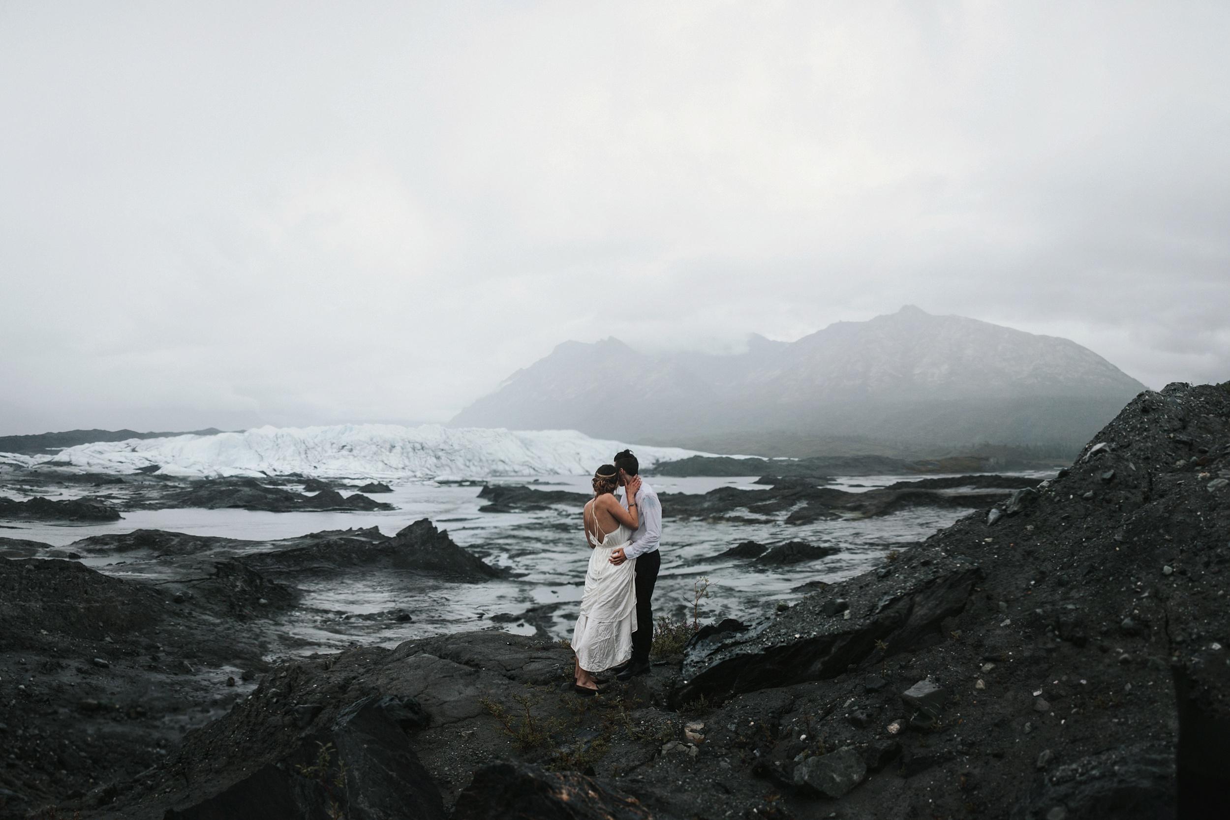 rainy glacier wedding in Alaska