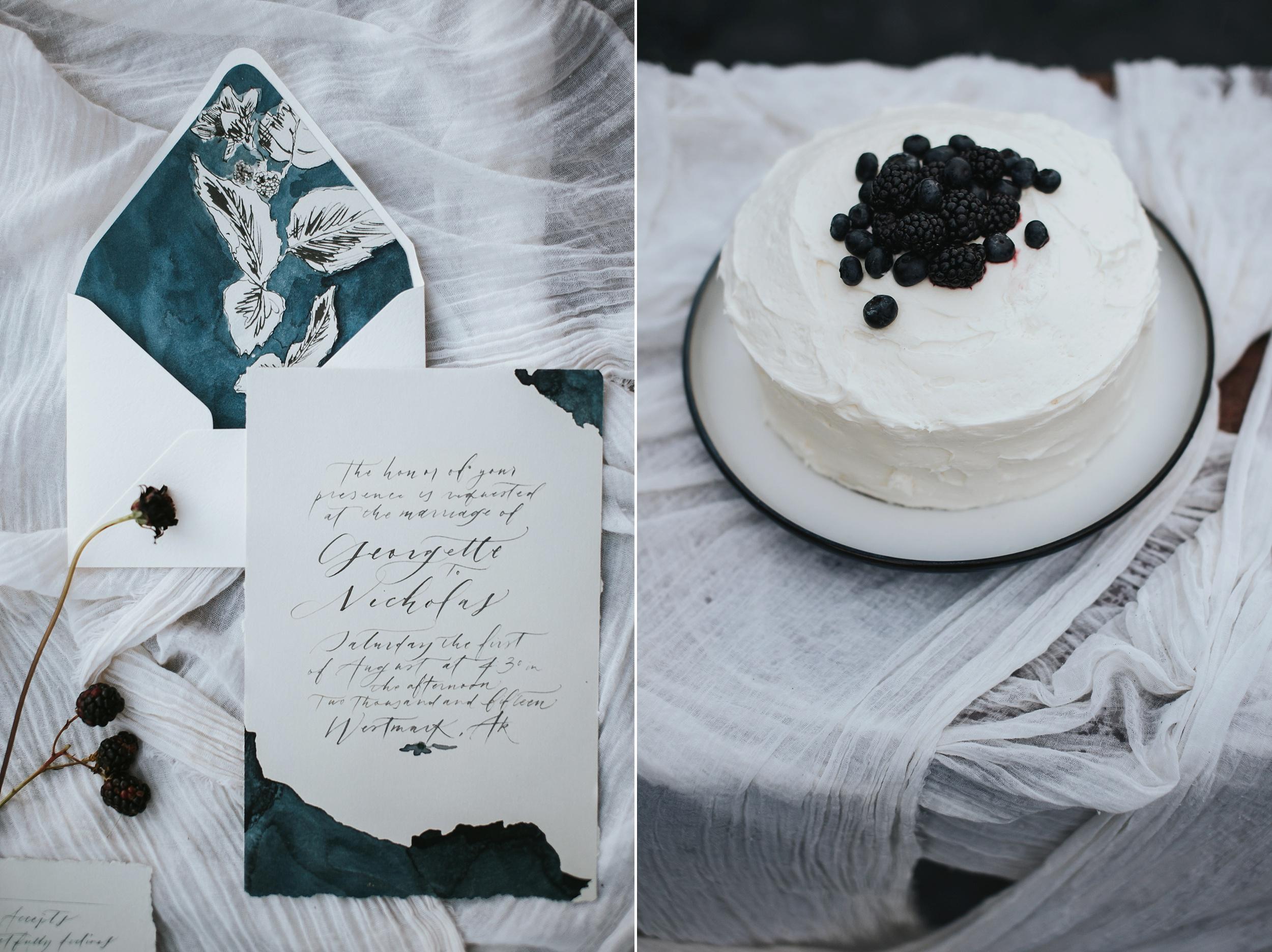 simple blackberry wedding cake