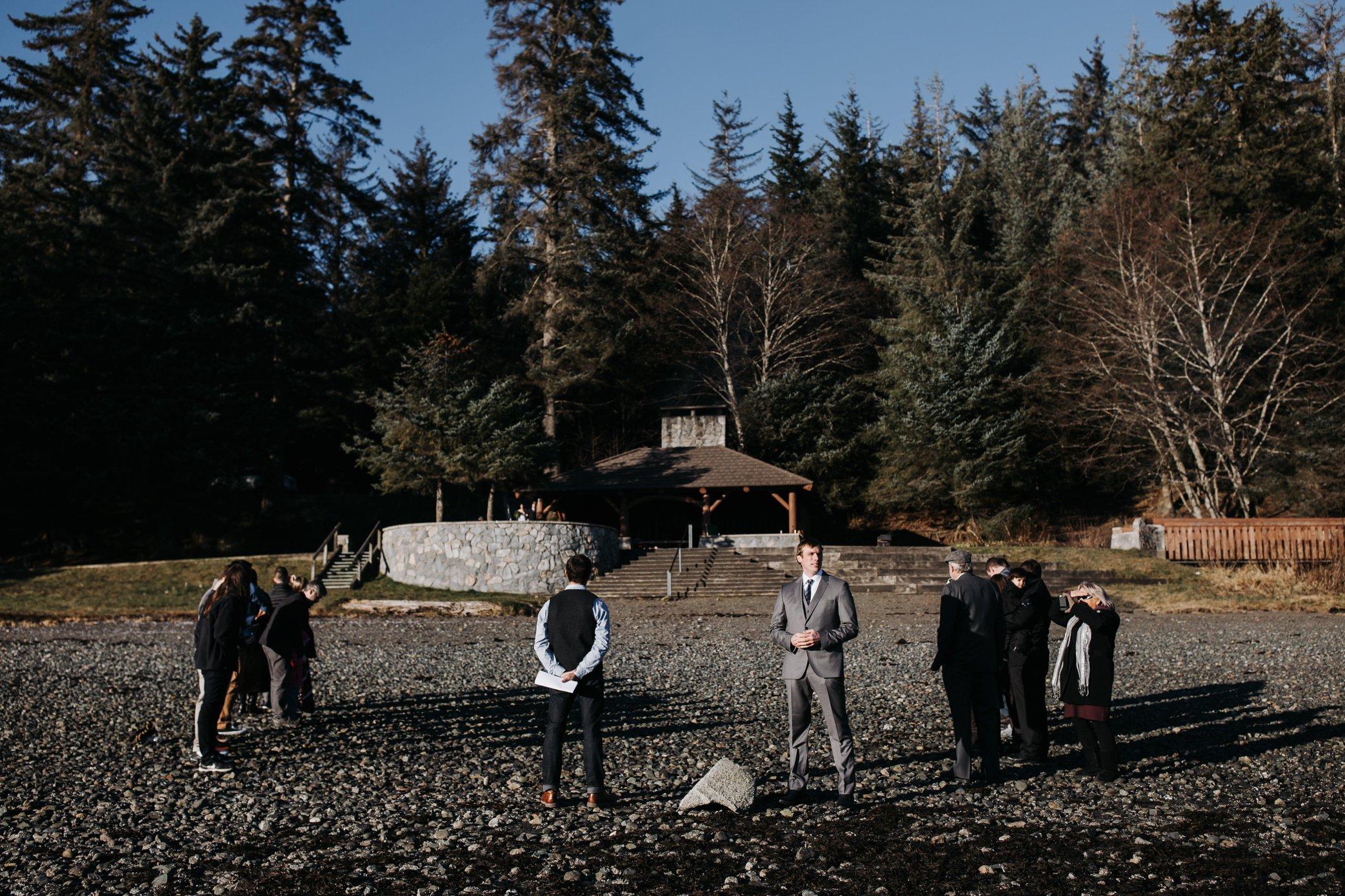 wedding at Auke beach in Juneau Alaska