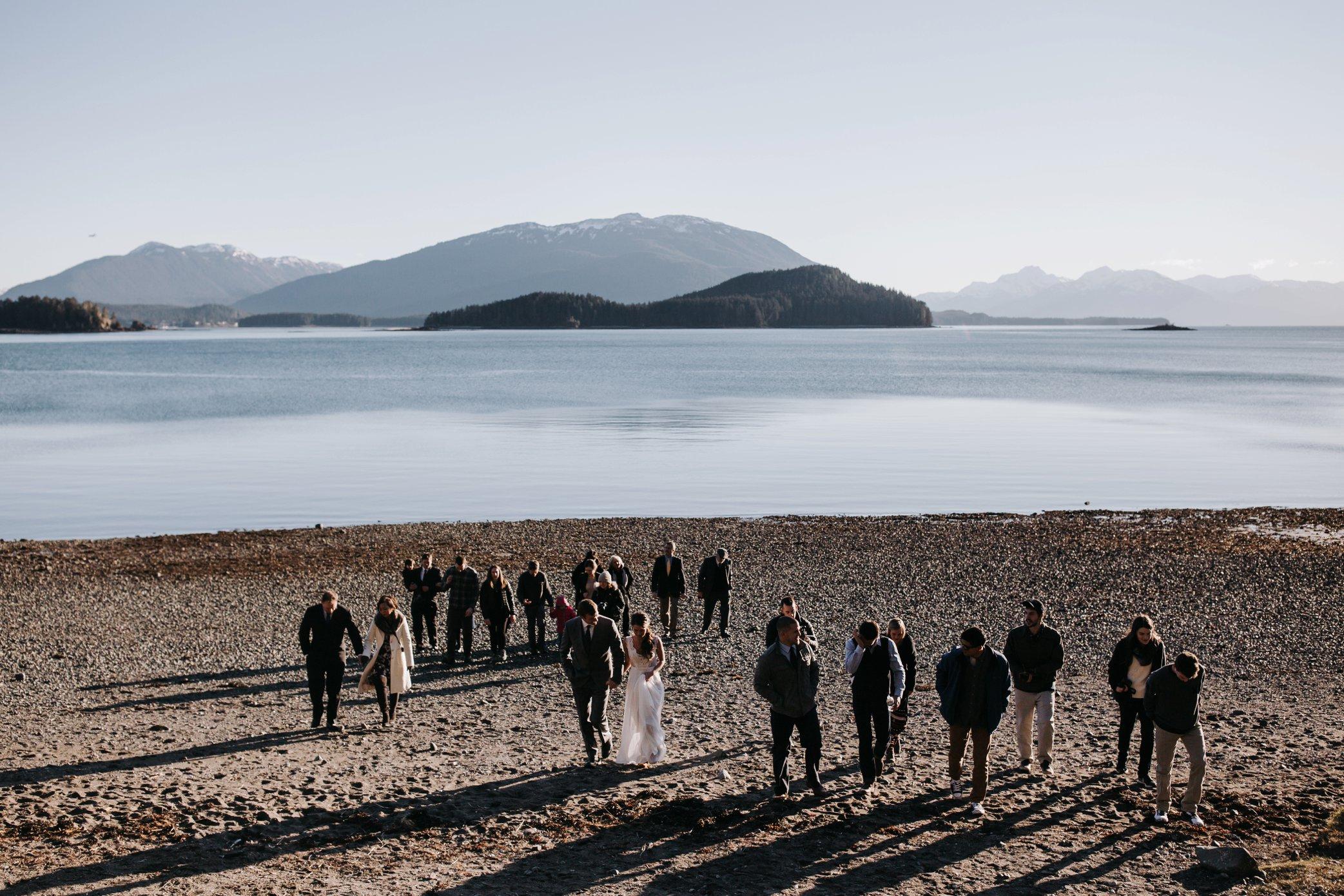 Alaska beach wedding