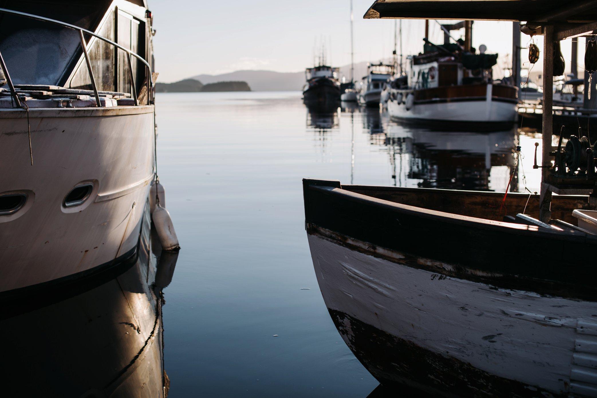boats at harbor in Juneau Alaska