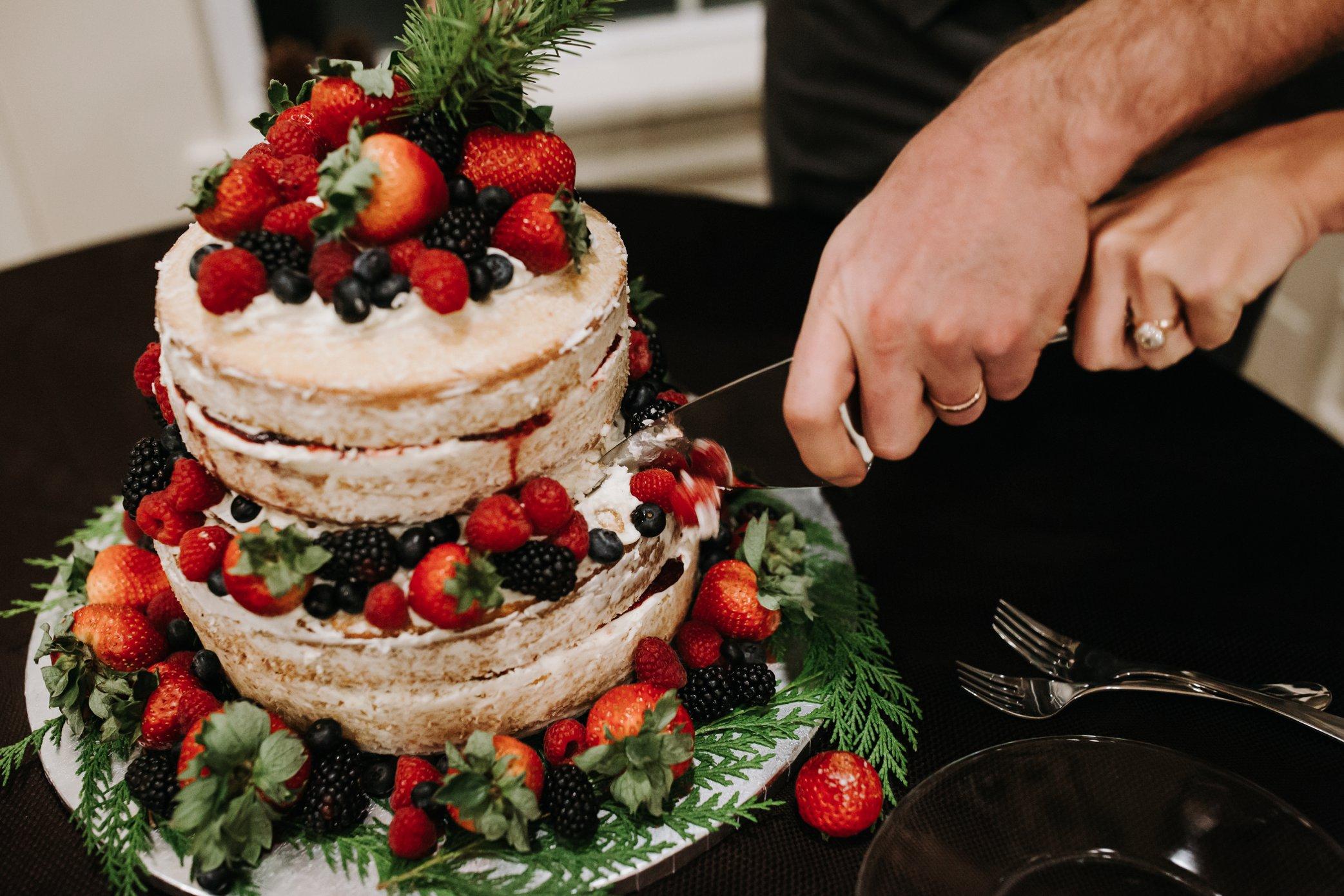 strawberry naked wedding cake