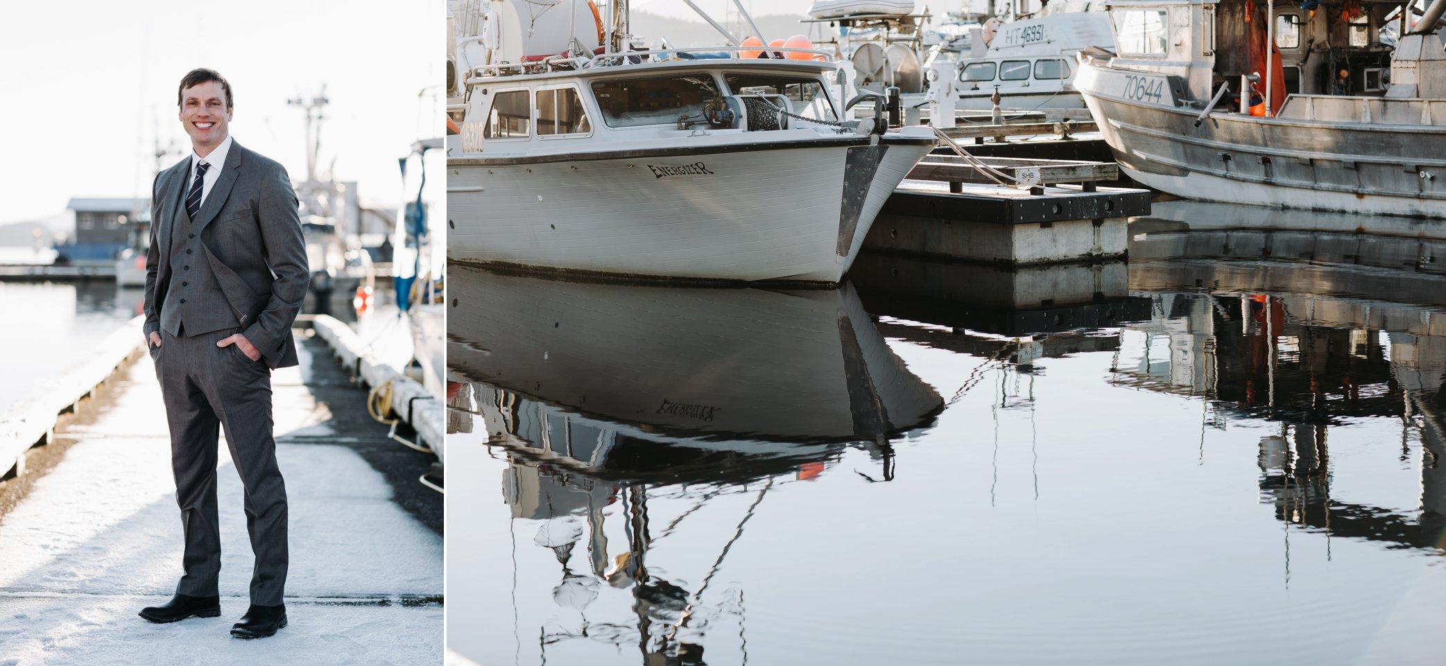 groom on dock in Juneau Alaska