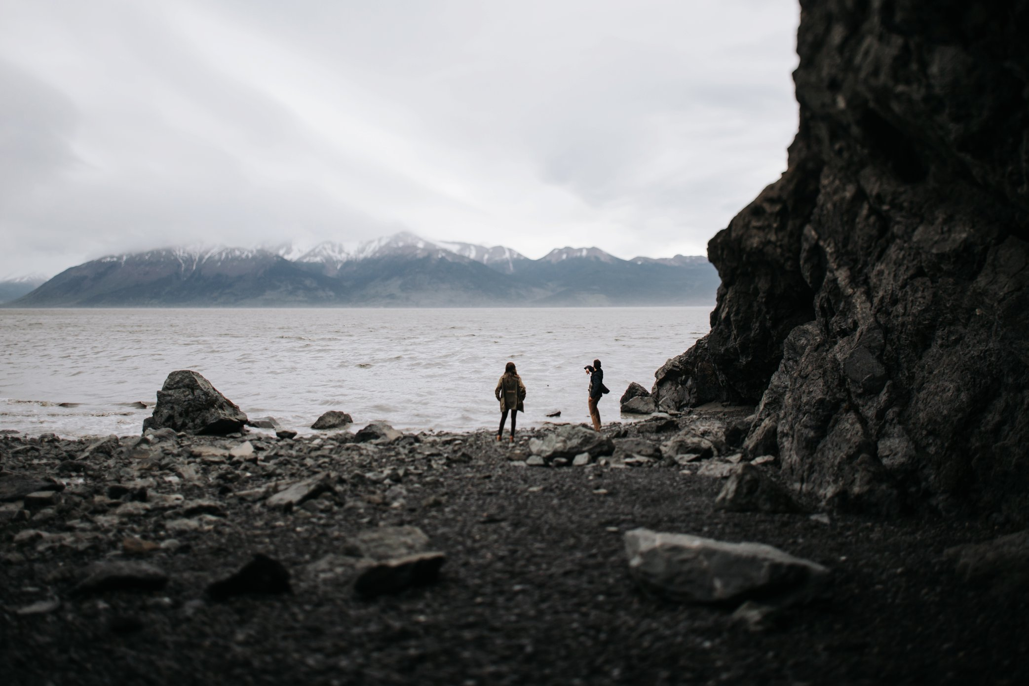 alaskan beach engagement