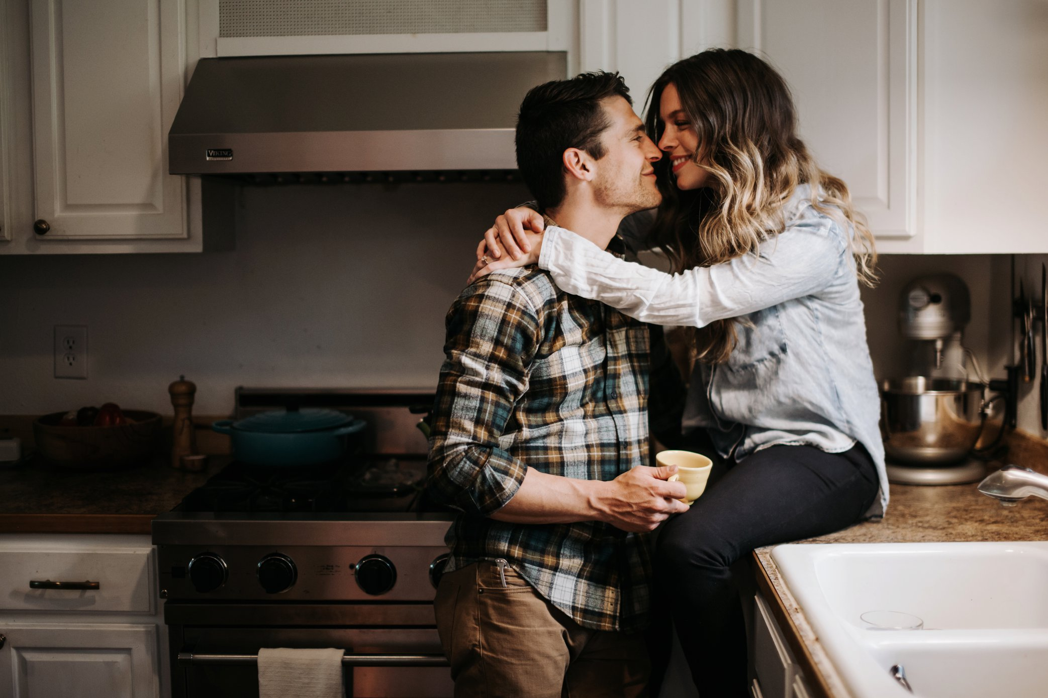engagement photos in kitchen