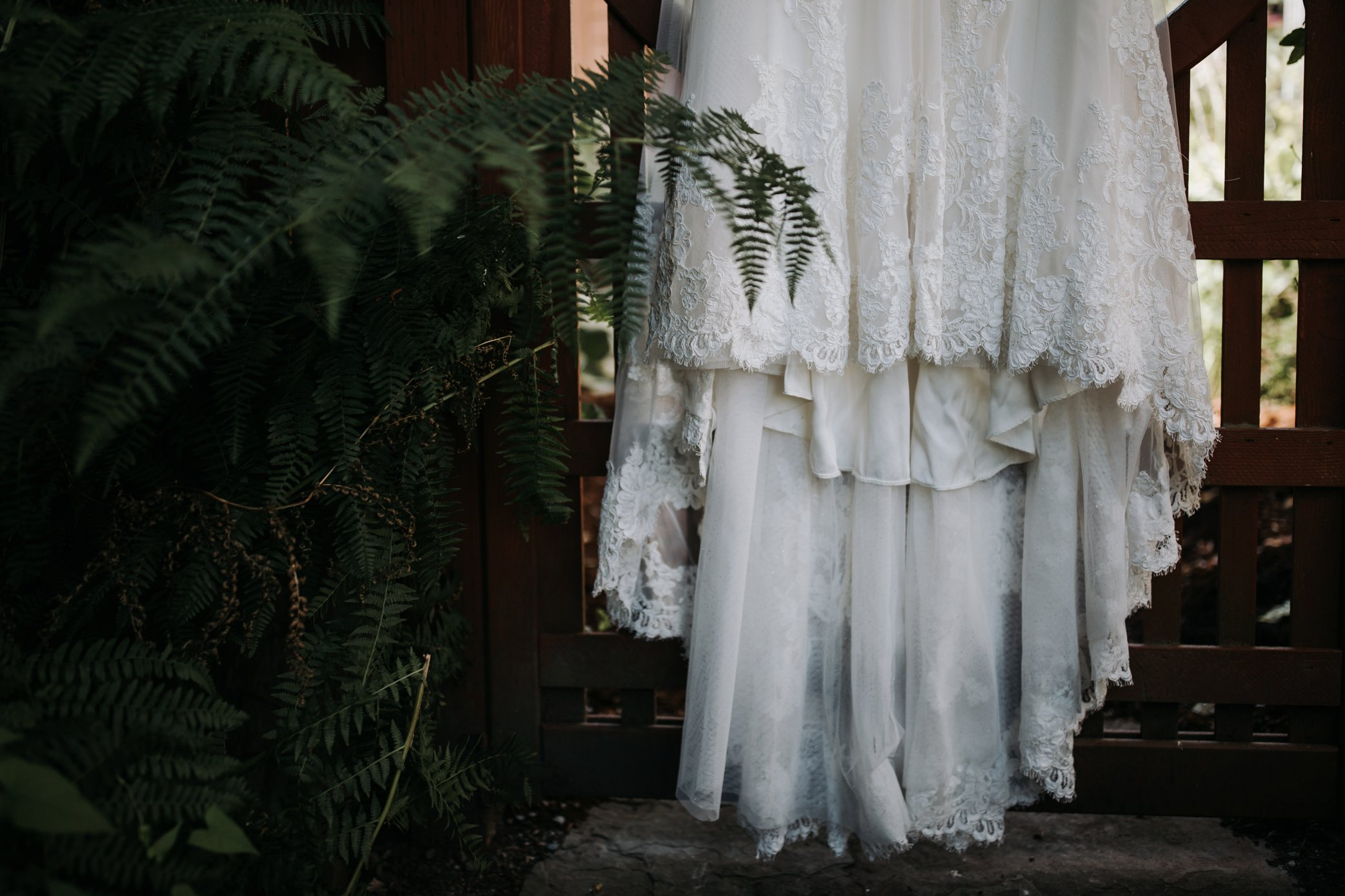 wedding dress in garden