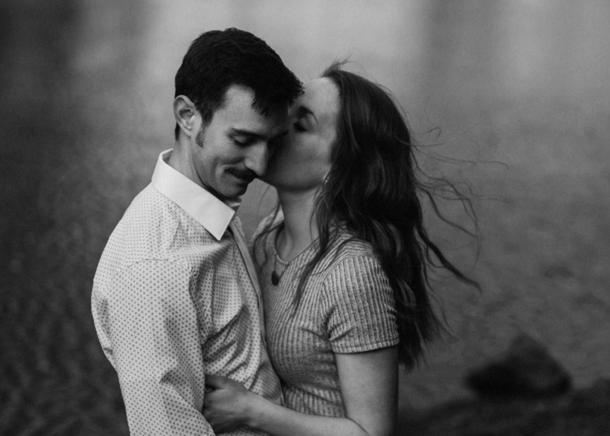 black and white engagement portrait