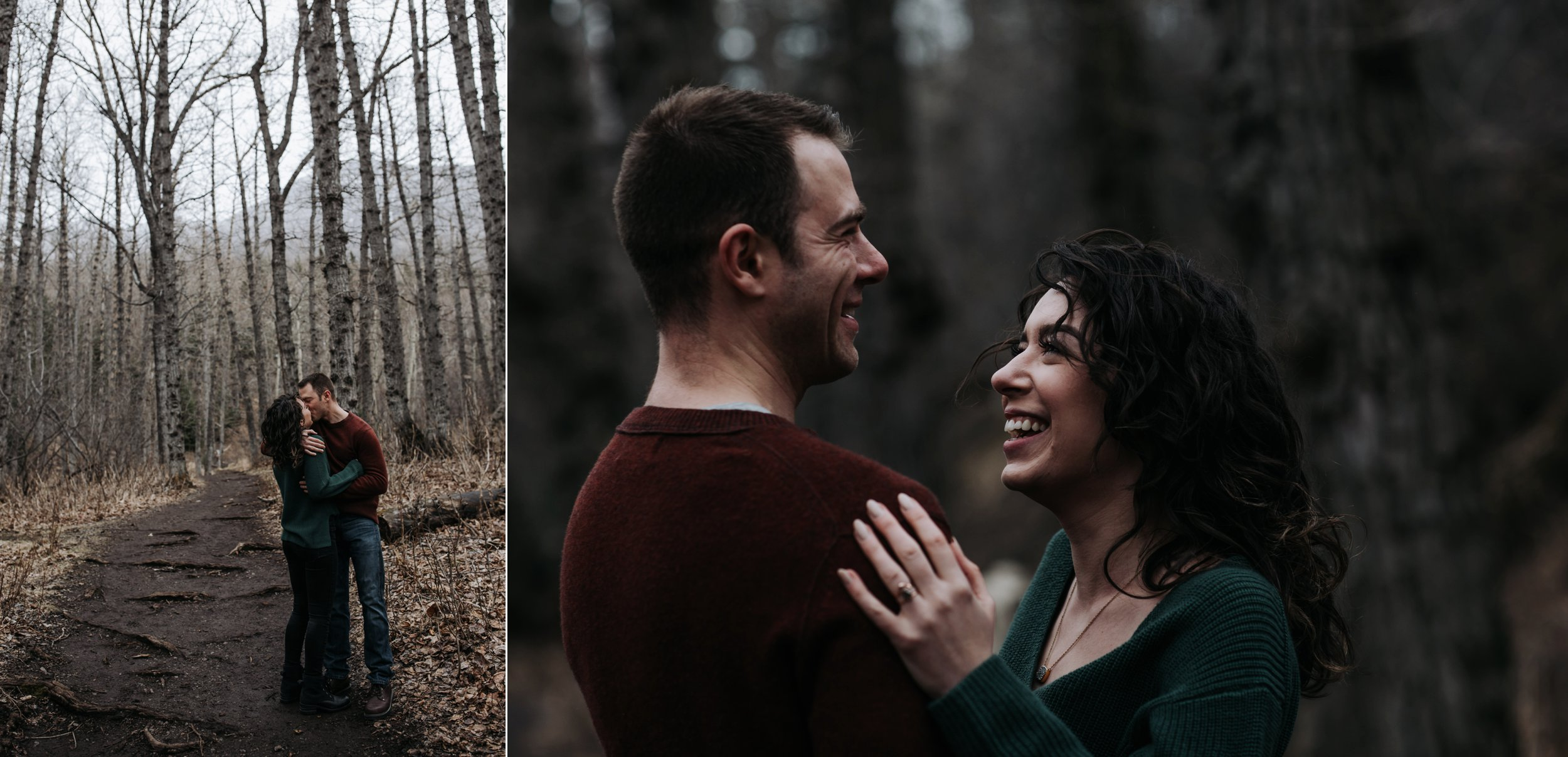 engaged couple in the woods