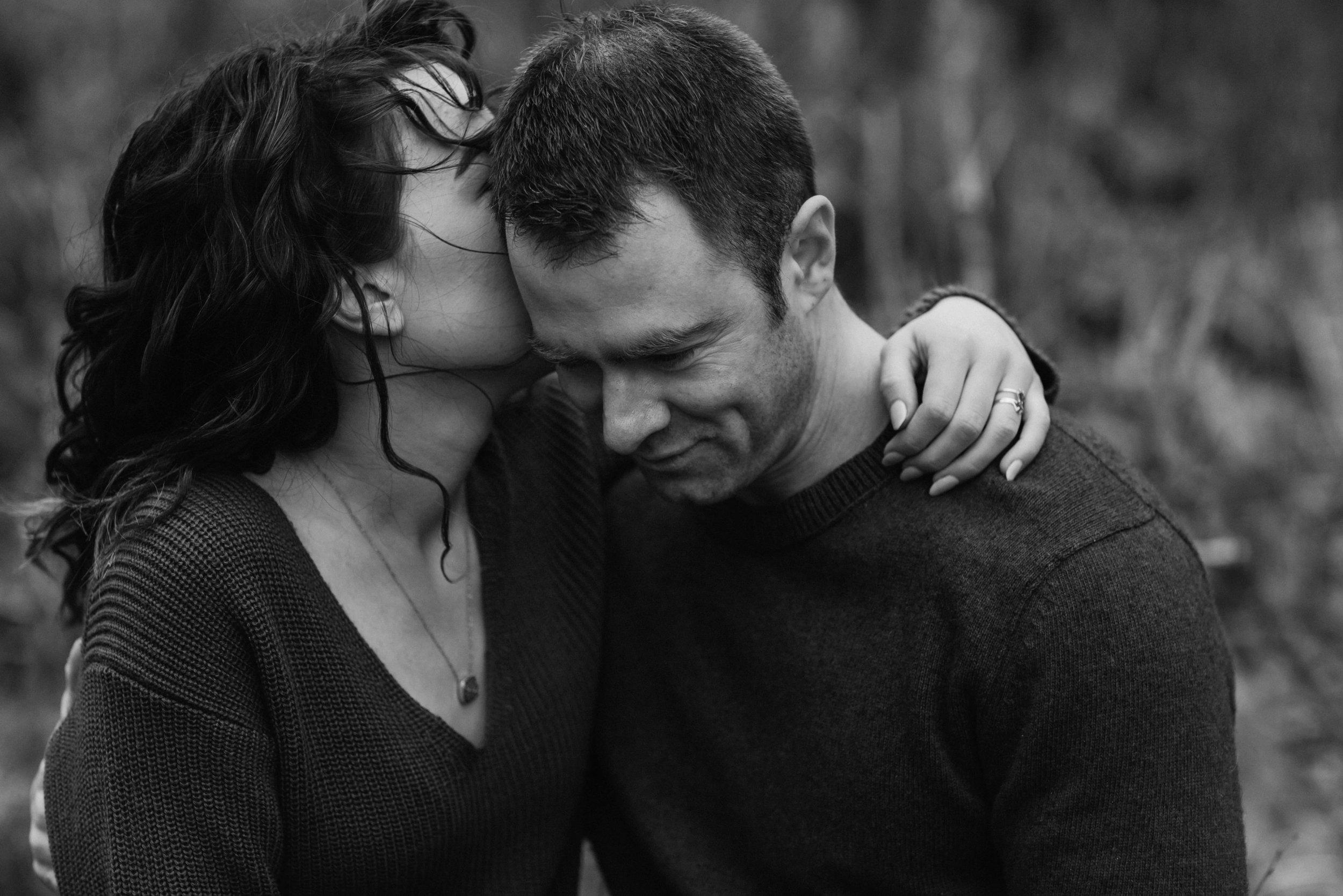 closeup black and white engagement portrait
