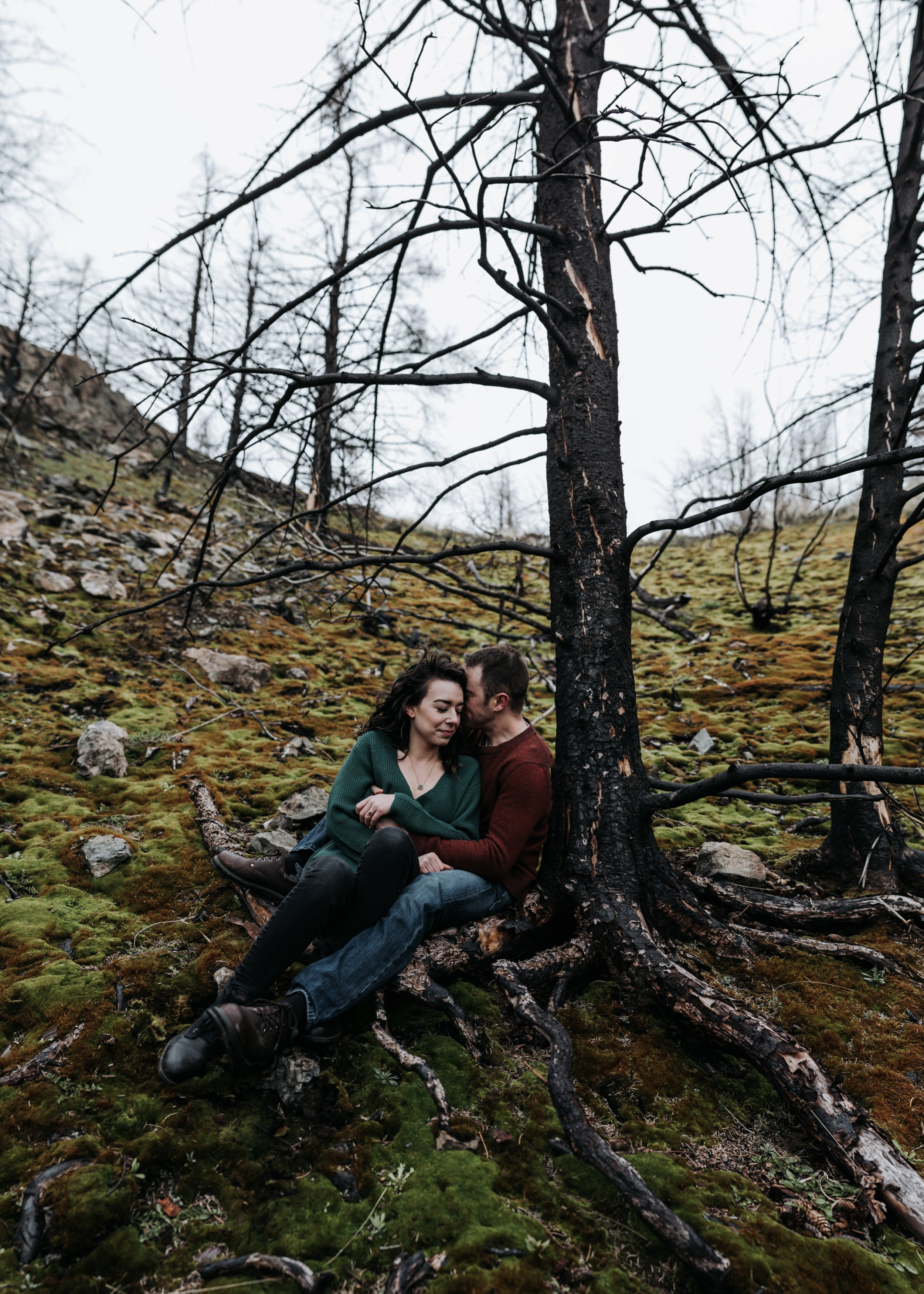 forest fire engagement photos
