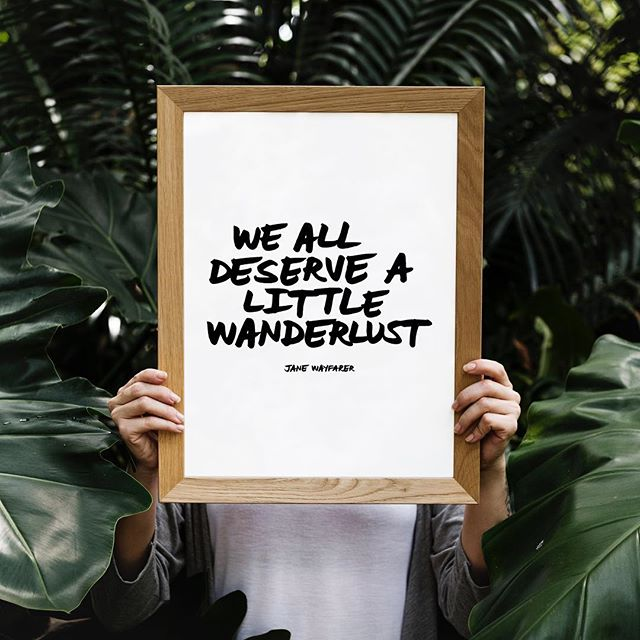 """We all deserve a little #wanderlust"" #janewayfarer — only $5, download your own #handlettered digital print for your home // shop: www.janewayfarer.com [ link in profile ]"