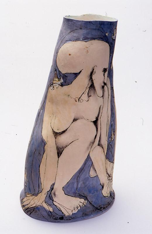 Persephone's Abduction,  2002, mid-fired ceramic with underglazes, 80cm