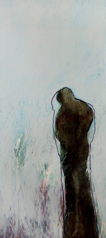 Underworld,  2007, acrylic, bitumen and oil stick on linen, 110cm(w)x240cm(h)