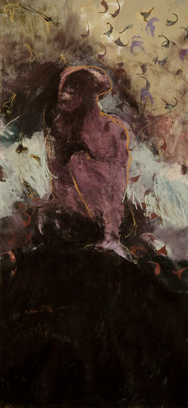 Mirthless   Rock,  2006, acrylic, oils stick and collage on paper, 110cm(w)x240cm(h)