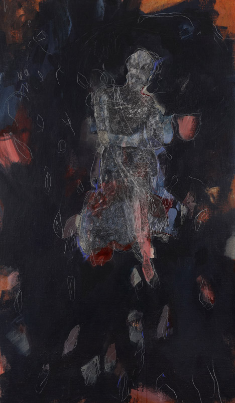 The Handless Maiden,  2010, collage, pencil and acrylic on stretched linen on board, 150x50cm
