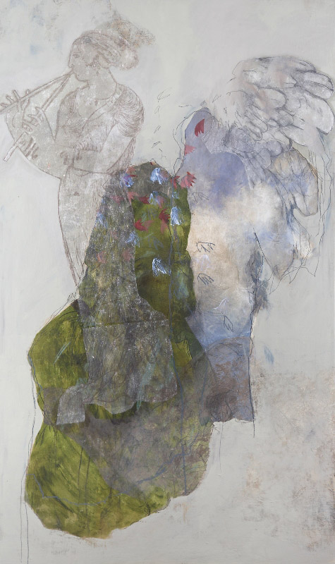 Psyche,  2010, acrylic, collage,and pencil on board,150x50xm