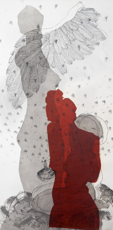 She was Never to see His Face  ,  2010, etching, 100x50cm
