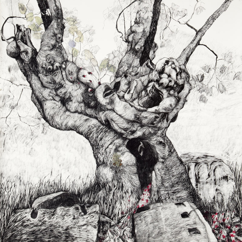 'Arcadia',  2012, graphite and coloured pencil on Arches paper, 150x150cm