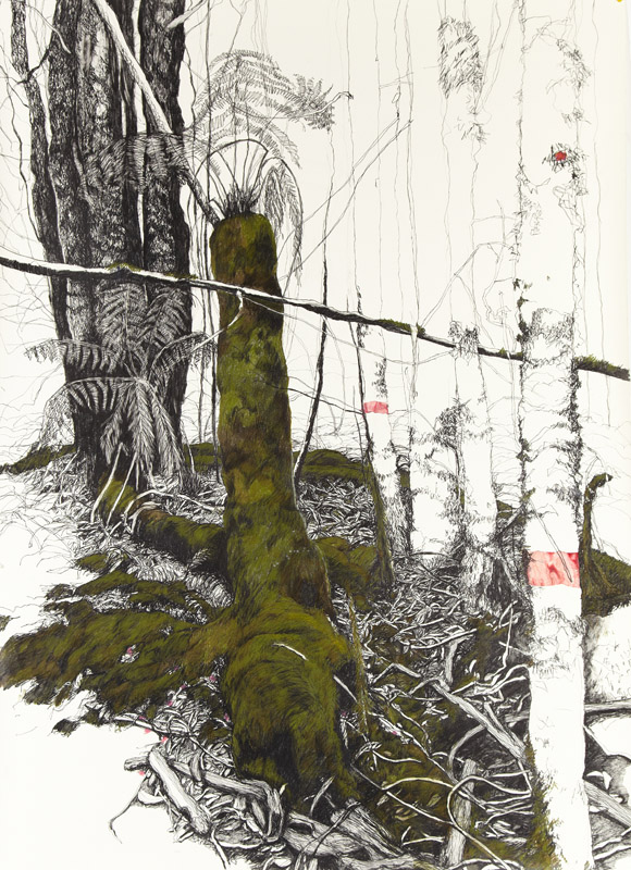 Dryad 111,  2011, graphite, coloured pencil and collage on Somerset paper, 170x128cm