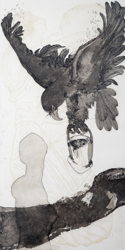 Zeus' Eagle , 2010, etching, 100x50cm
