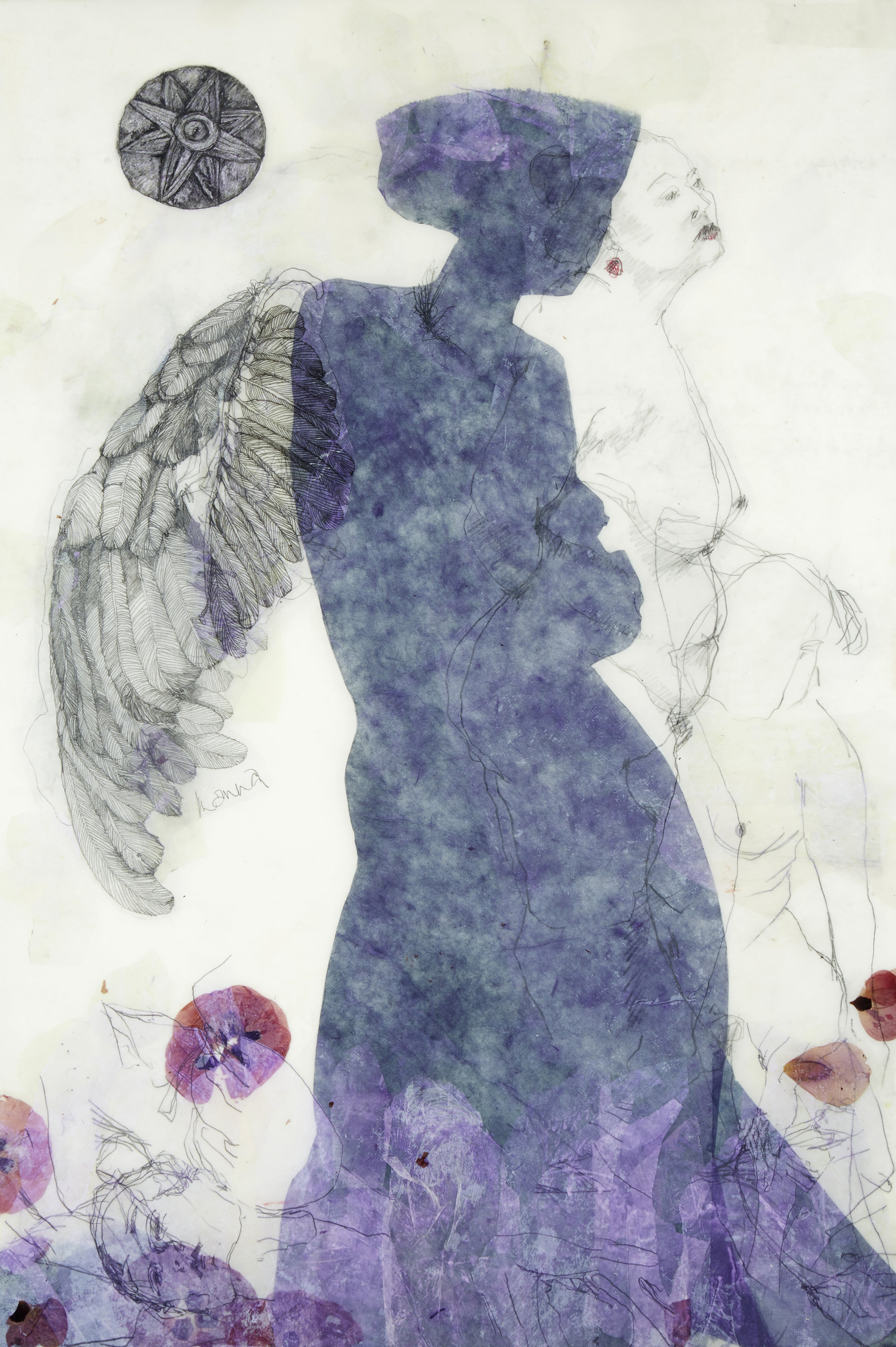 'Between Heaven and Earth' , encaustic, drawing, etching, collage on Kozo paper, 2015, 98x38cm.