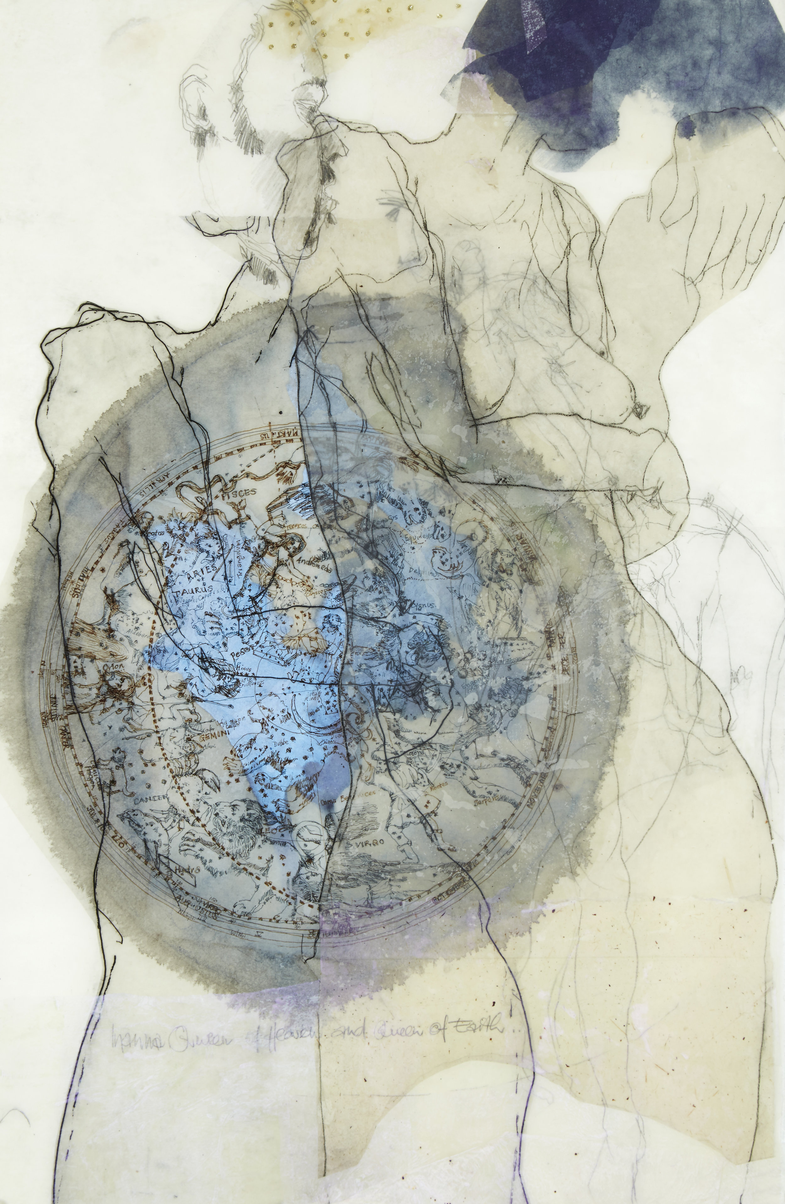 'The World Within' , 2015, encaustic, drawing, etching, collage acrylic on Kozo paper. Framed size: 63.5x91.5cm.