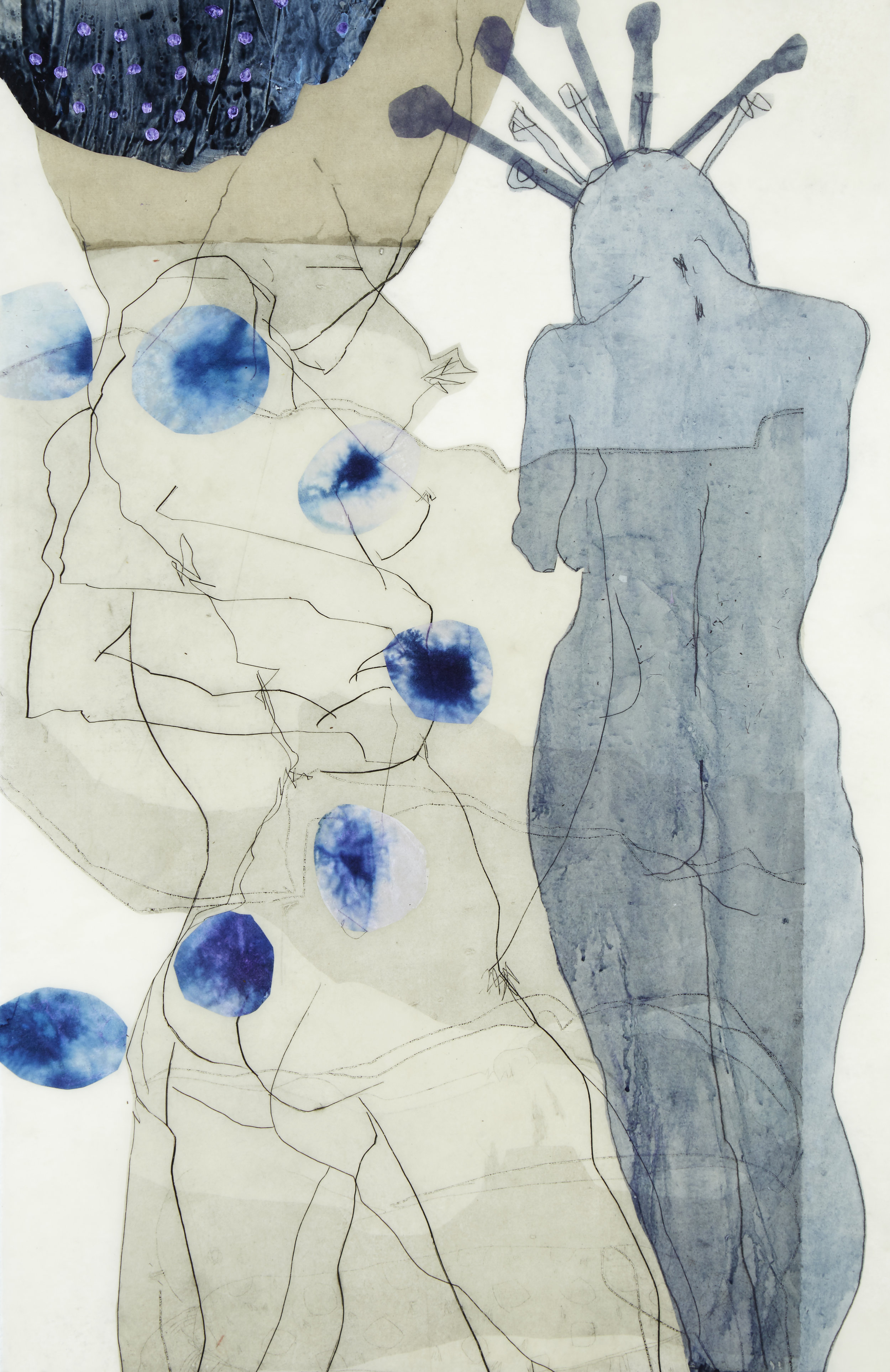 'Inanna' , 2015, encaustic, drawing, acrylic, etching, collage on Kozo paper. Framed size: 63.5x91.5cm