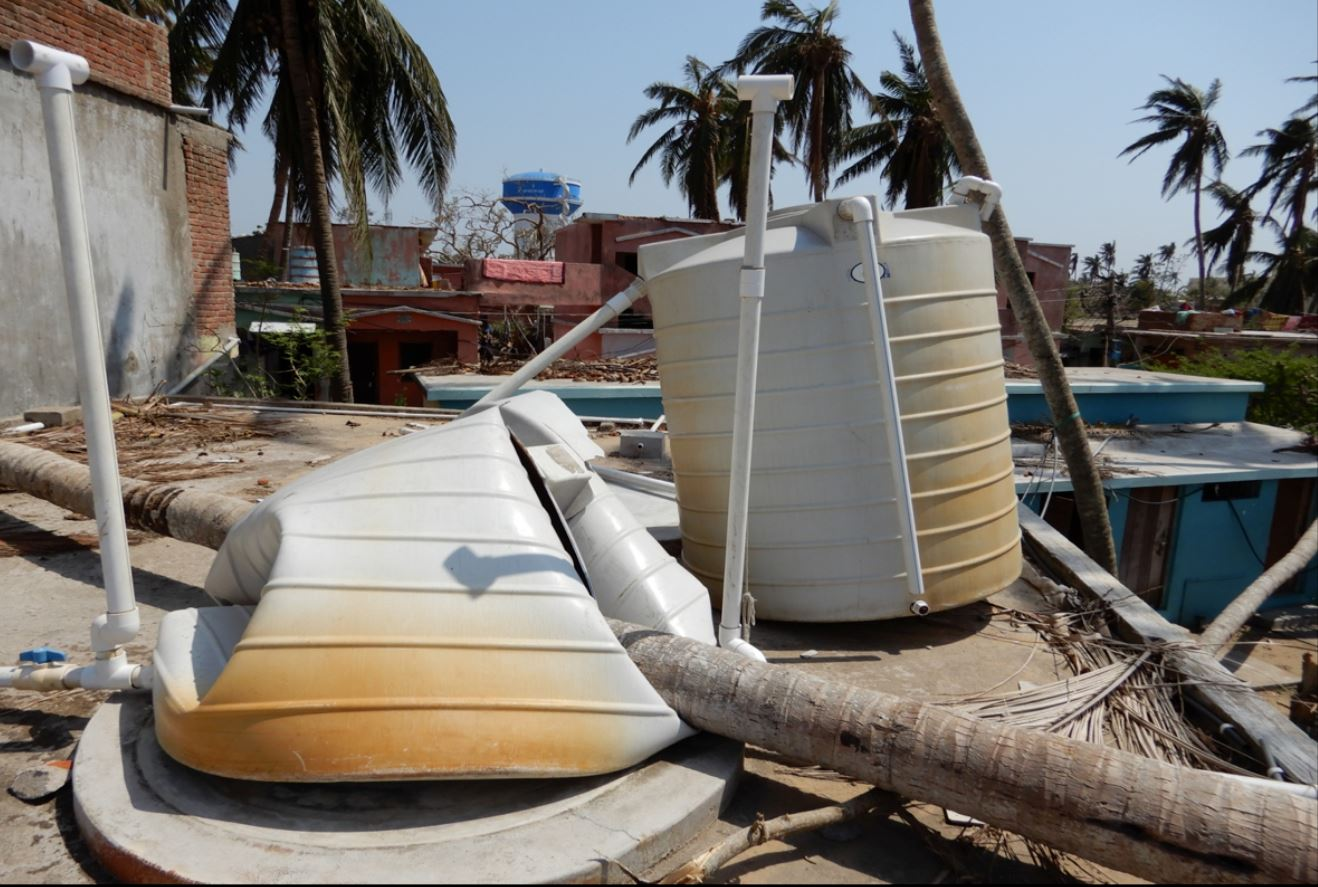 Destroyed rooftop water tanks