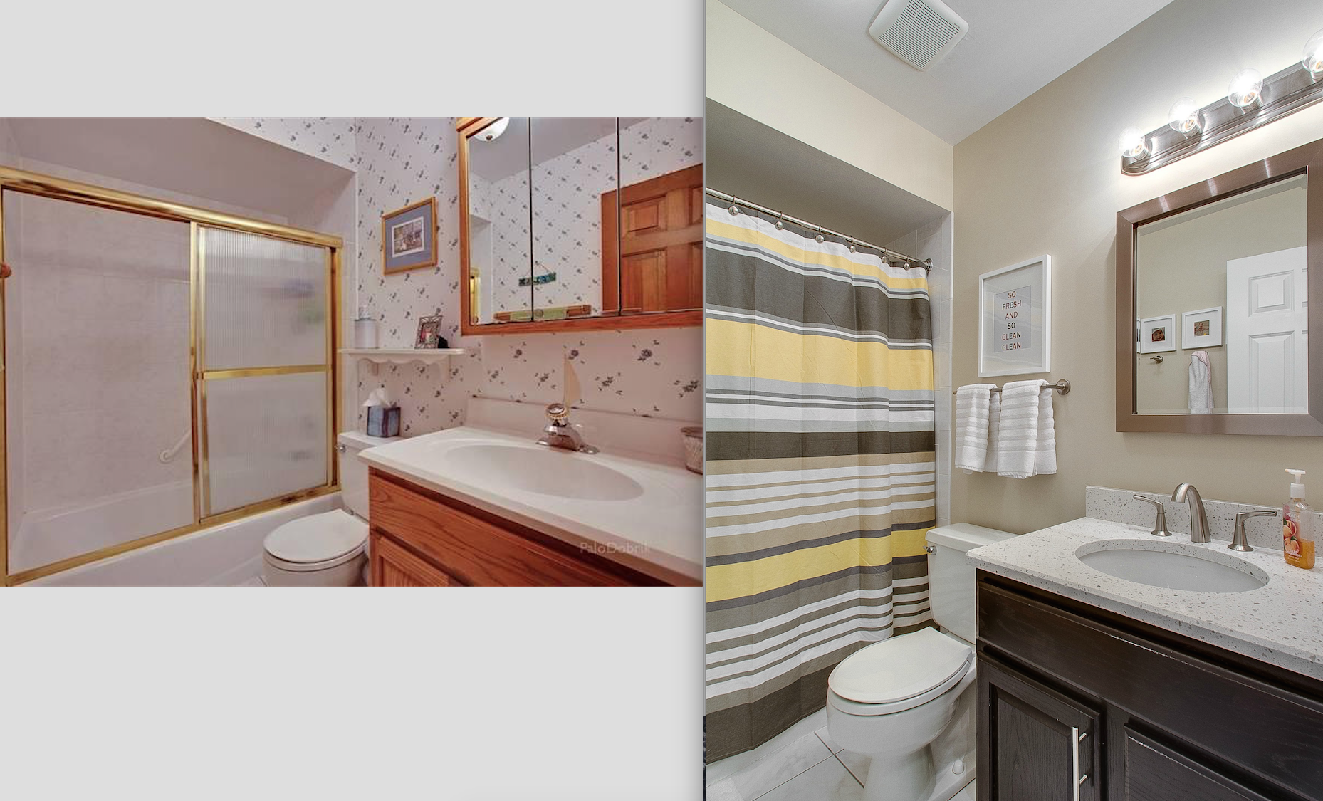 """I didn't have the foresight to take a great """"before"""" photo so this one is from the listing. The kid's bathroom refresh was completed for less than $400 (quartz countertop, faucet, stain, mirror, light fixture, shower curtain, and bathroom hardware) and a whole lot of elbow grease."""
