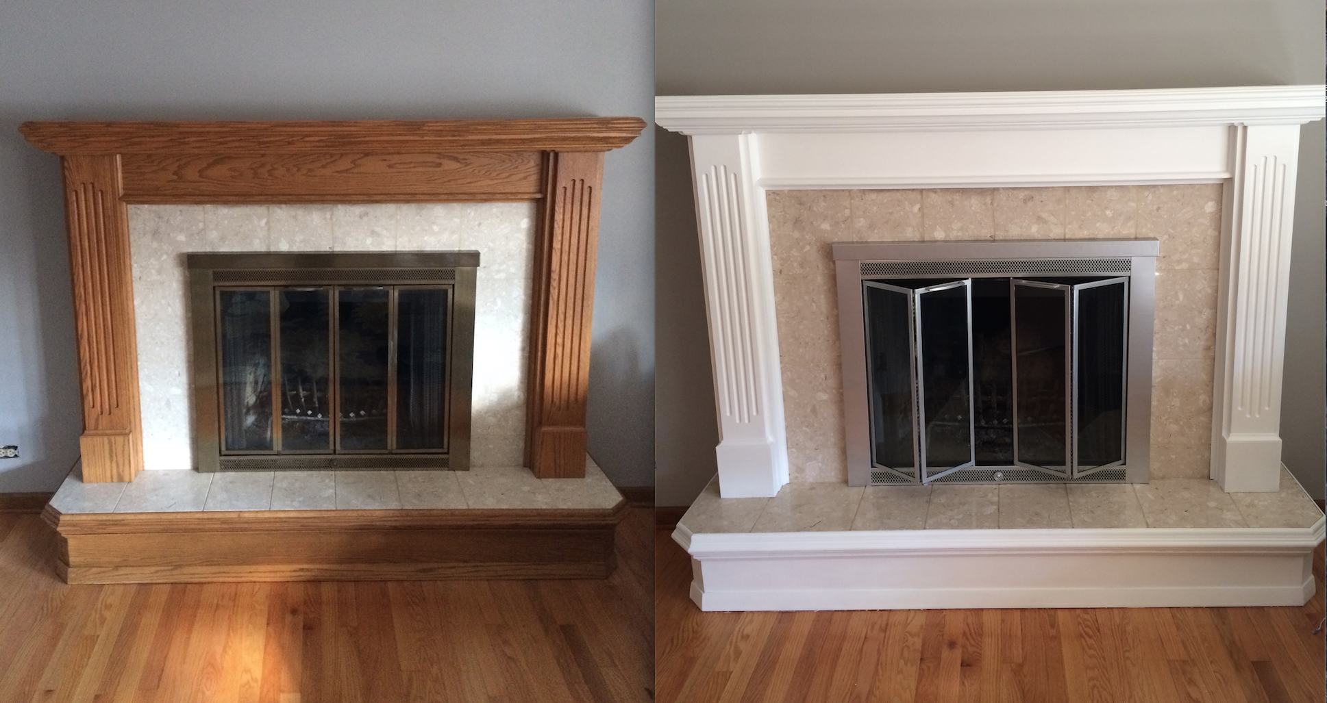 Fireplace makeover with Annie Sloan chalk paint - no sanding was required, but I did a little for a perfectly smooth finish. I completed this project in the winter, but my intention was to re-do the fireplace insert with an oil-rubbed bronze high heat spray paint. I never quite got around to that project!