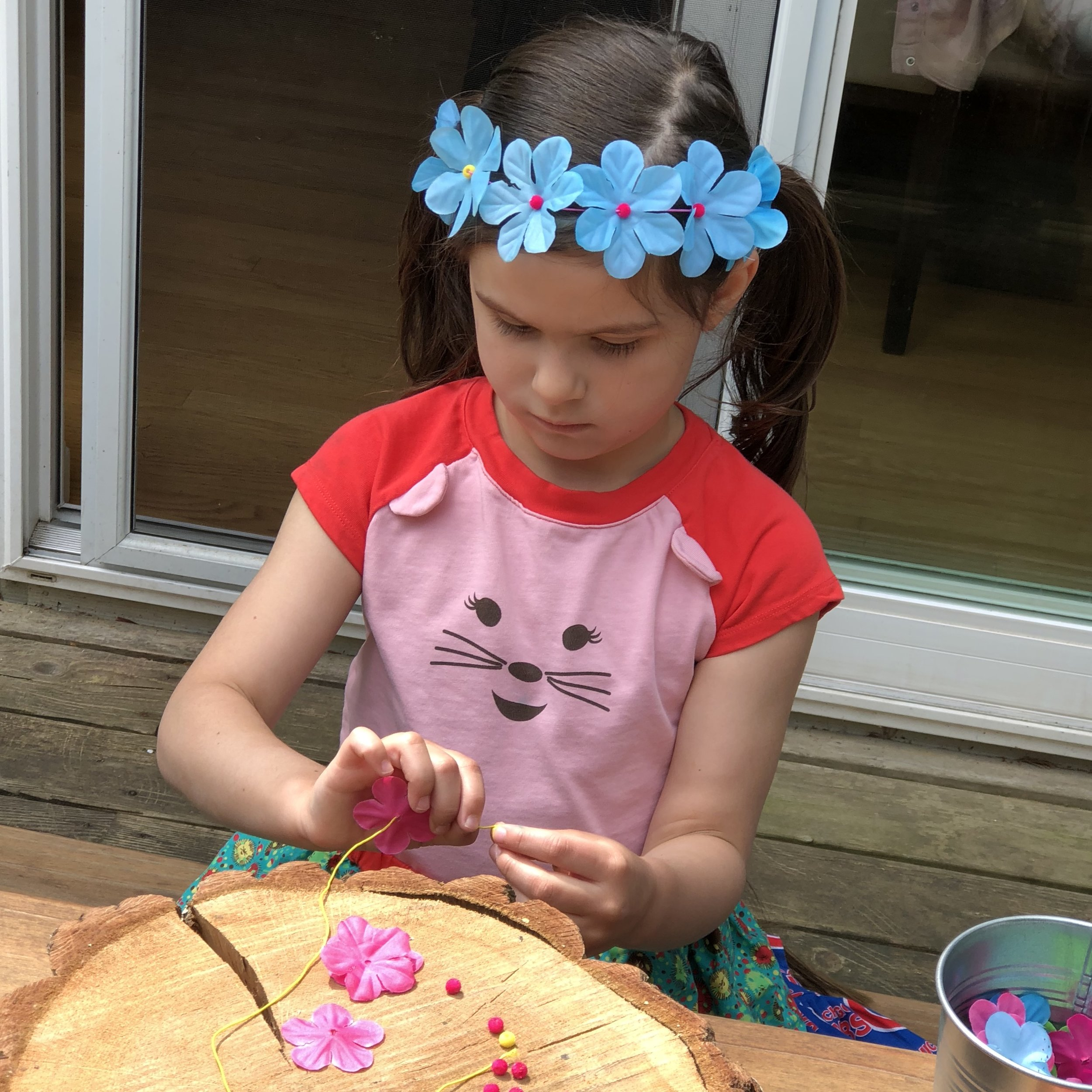 The kits include enough materials to make two flower crown for each girl - one for herself and one for her doll.