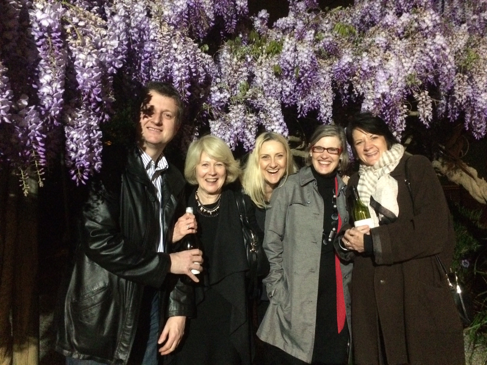 David, Elaine, Janet and friends being eaten alive by the wisteria on the recent HTC Film and Pizza night.
