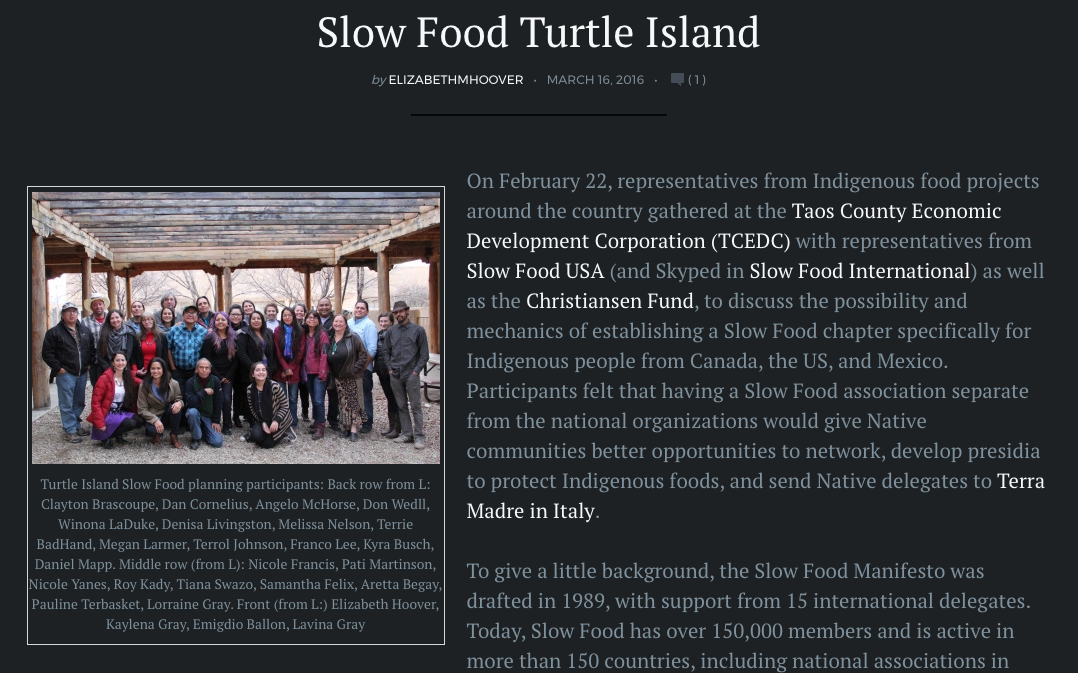 Click above to read this article on the formation of the Slow Food Turtle Island Association.