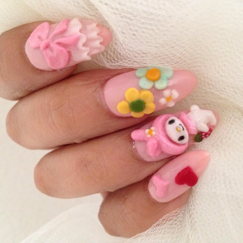 Acrylic Nails with My Melody Kawaii Nail Art