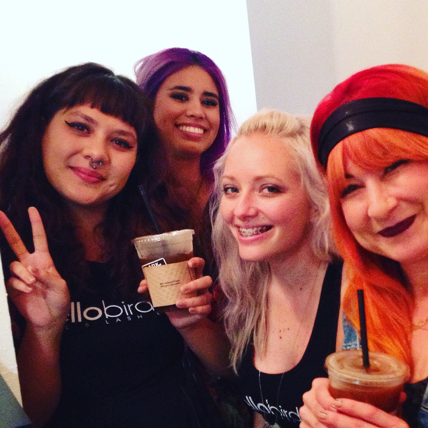 Hello Birdie nail artists and Co-owner enjoying some Dark Horse Coffee
