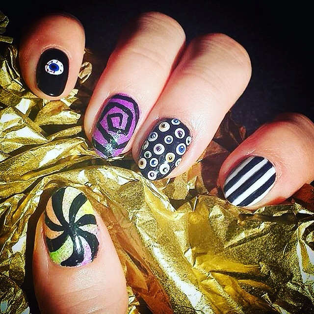 Trick or Treat Candy and Eyeball Nail Design