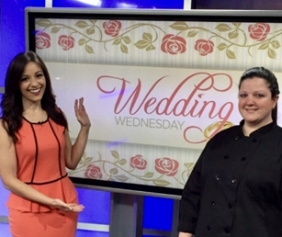 Ashley discussing wedding cake trends with Samantha Roberts of Cleveland 19 News.
