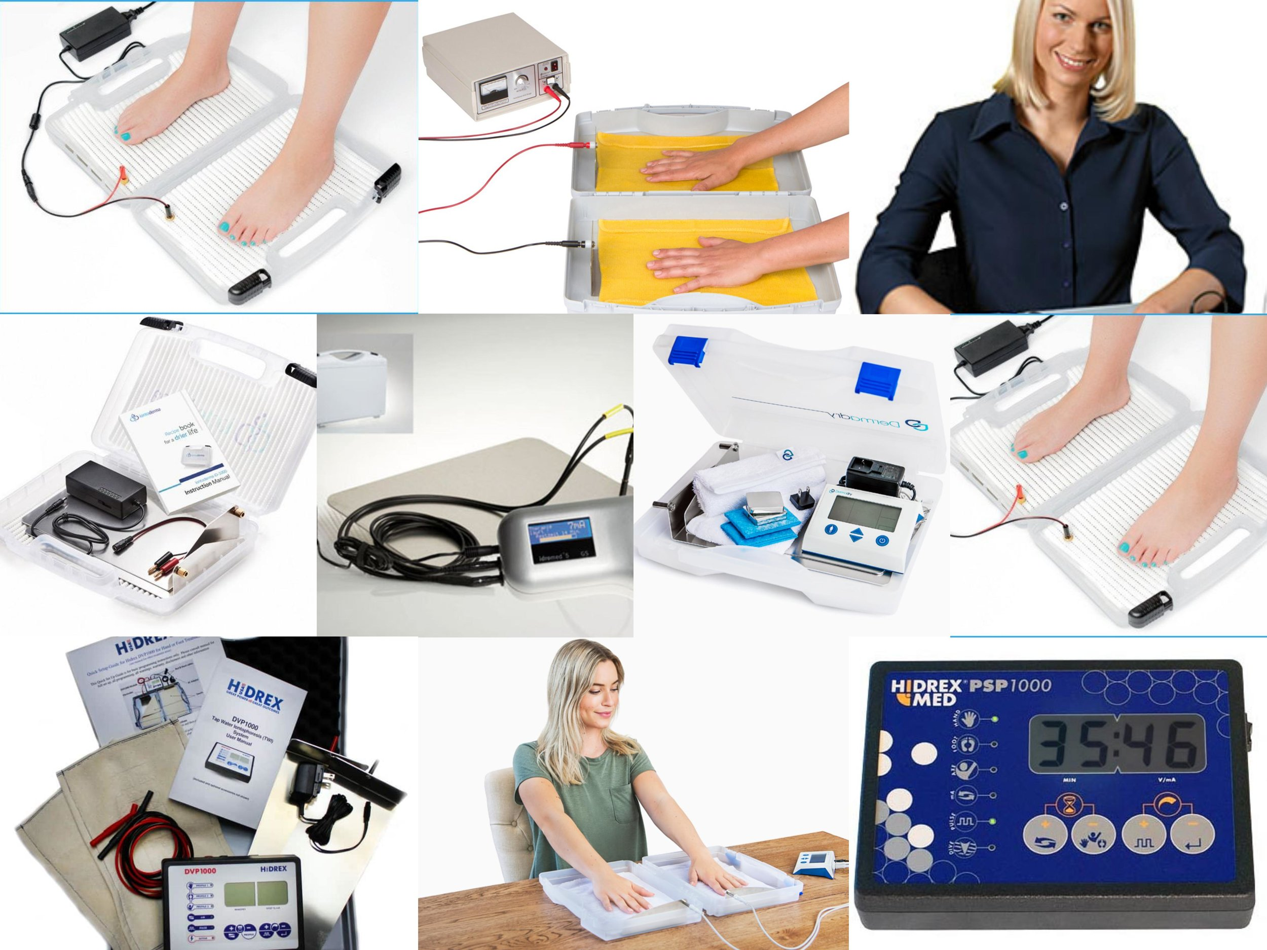 Complete compartion of top Iontophoresis devices - Do you have excessively sweaty hands? Then Iontophoresis treatment is for you. With a home Iontophoresis device, you have dry hands within a week. Click below to see the top devices available.