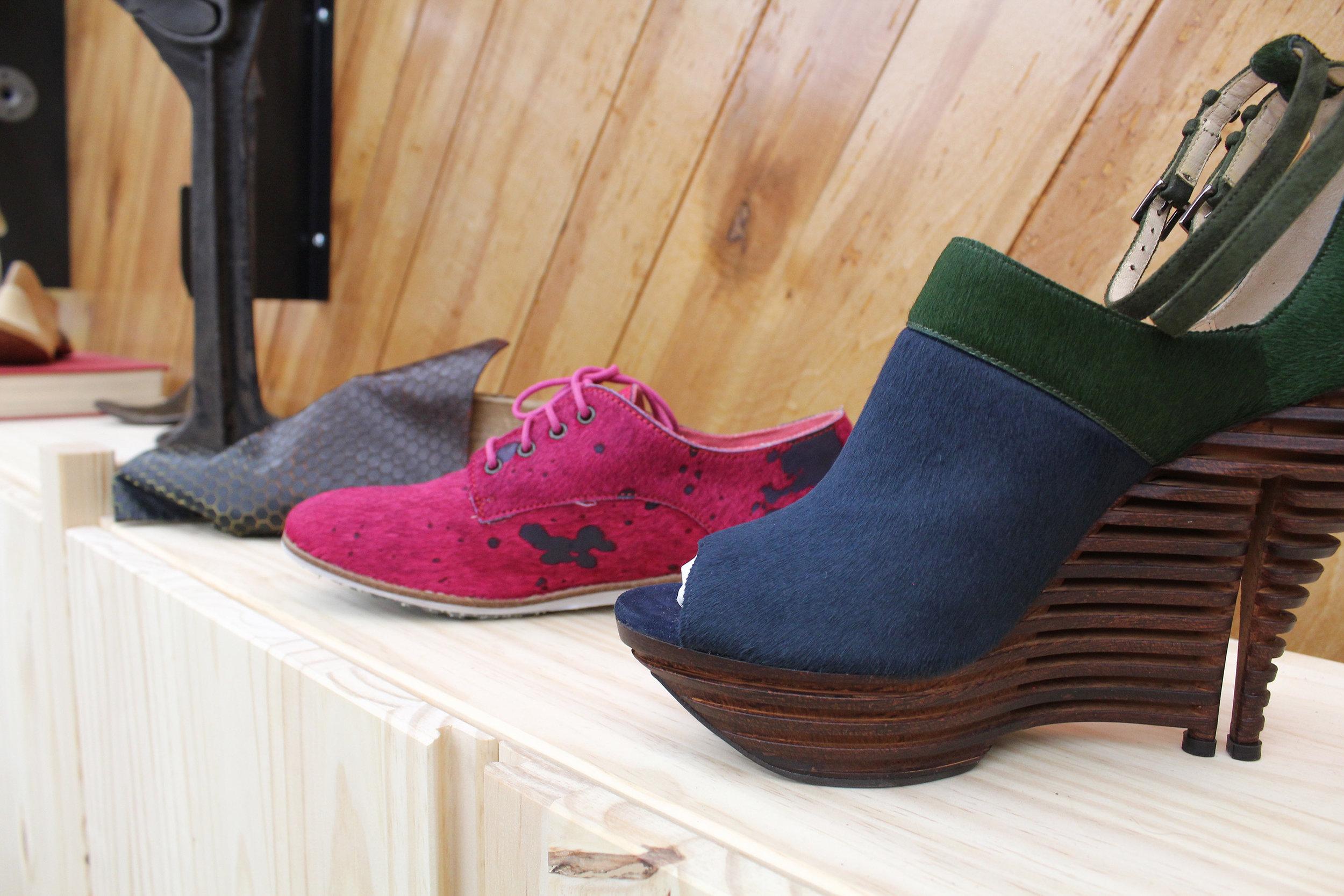 "Left to right-Suzette's leather design-HotShop 9,Vince Lebon 's Rollie Brand,Chris Dixon's Linda 1of 1  Below-Color tools Thank U Diva""L.C."",Textures, Schoeller Textiles, Clarino ""Ruffneck"" outdoor Microfiber"