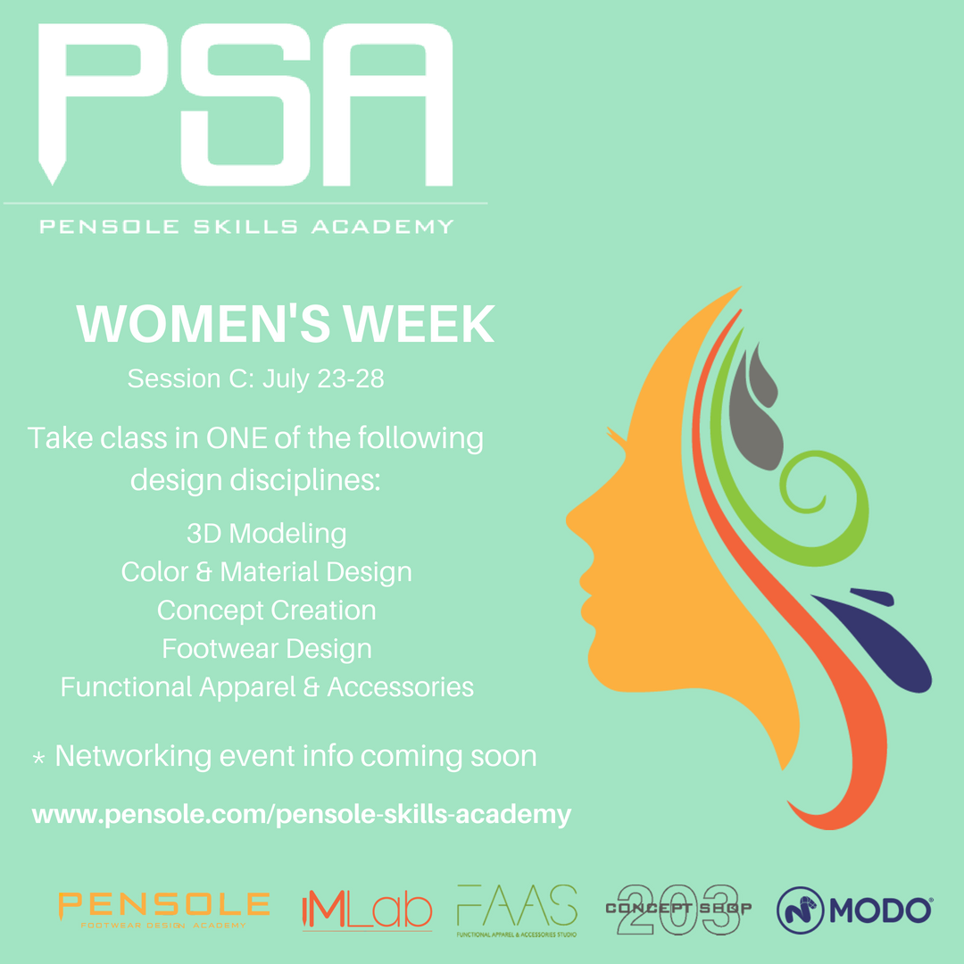 Pensole Skills Academy - 1 week Intense Design Session, take part in 1of 5 disciplines offered, grow your skills, push yourself, mentor & network with female creative in various industries, build your personal portfolio, or just come and share, it will change your path.We are always asked to create a female only class by the brands, since less than 1%of women designers actually design our shoes or make those color and material choices for performance product. We've packed this session with many breadcrumbs. Here it is, I look forward to seeing you