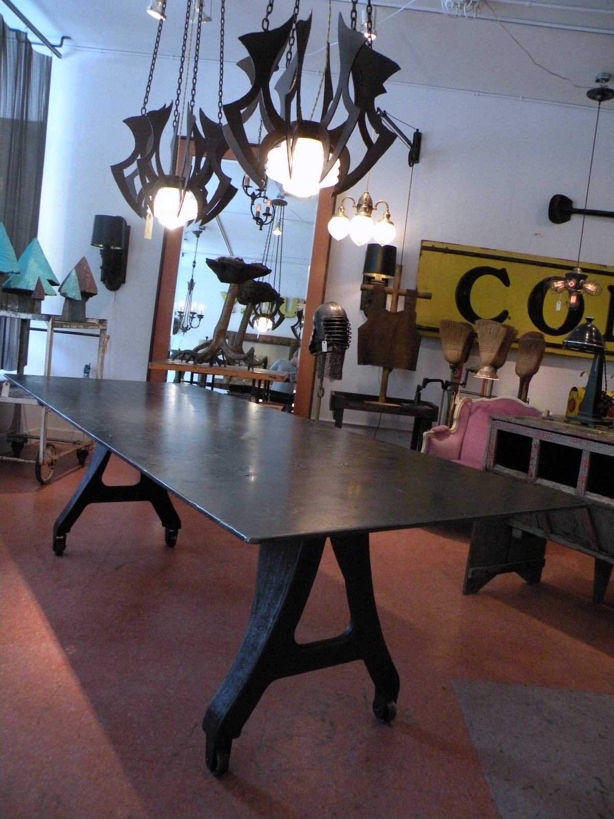 Steel Dining Table and Idaho Lodge Lights for Starbucks