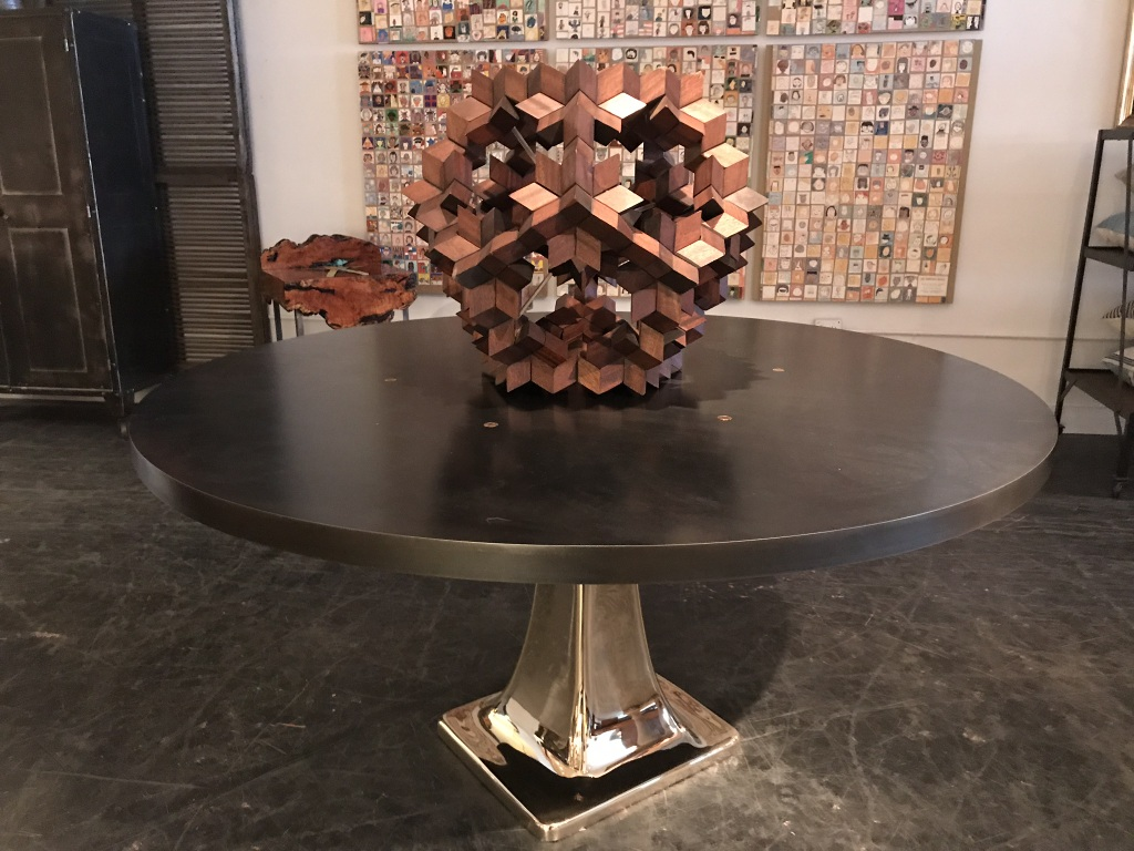 Geometric Sphere on Bronze Pedestal Table