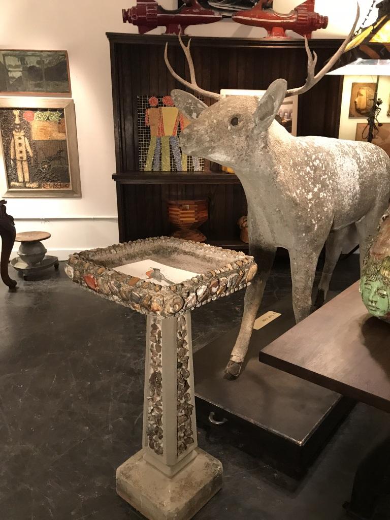 Concrete Deer with Birdbath