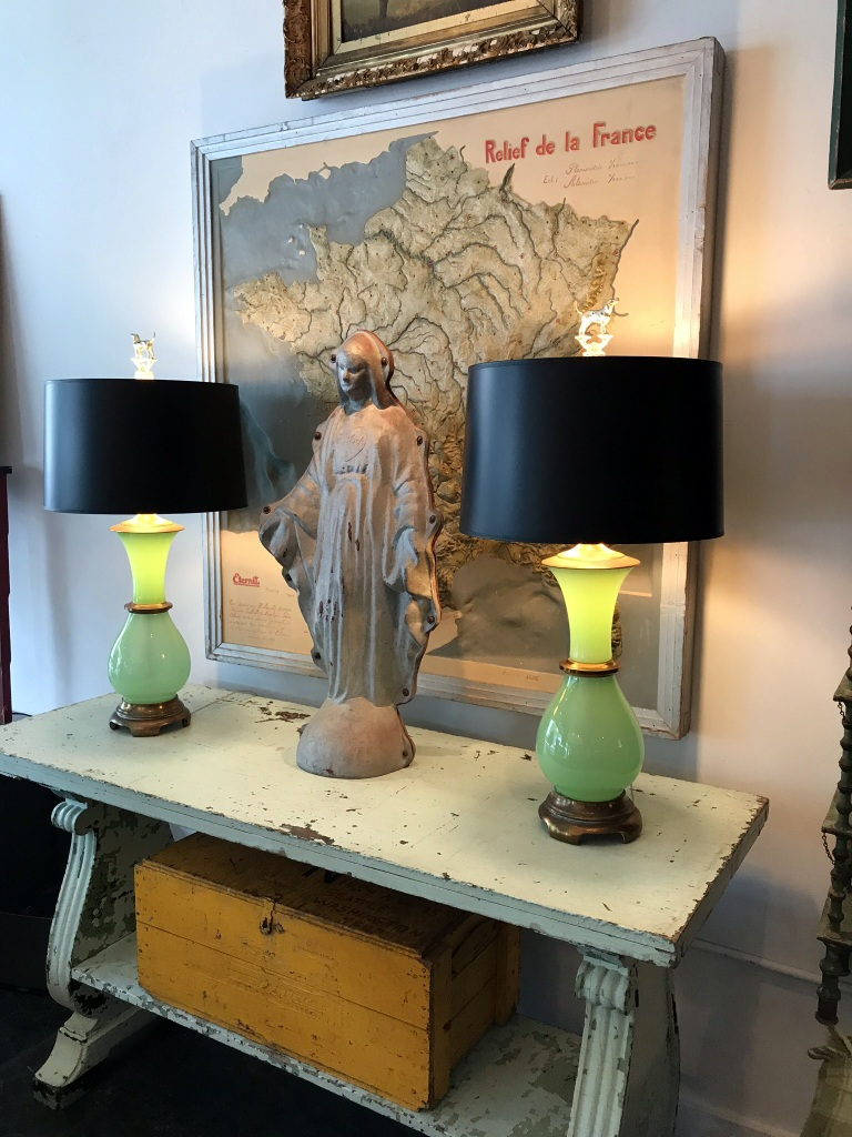 Pair of Green Vaseline Glass Lamps
