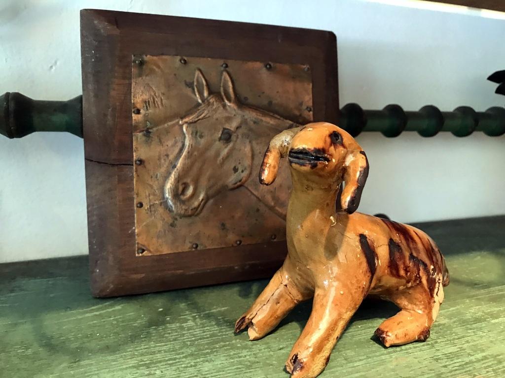 Copper Horse and Ceramic Dog