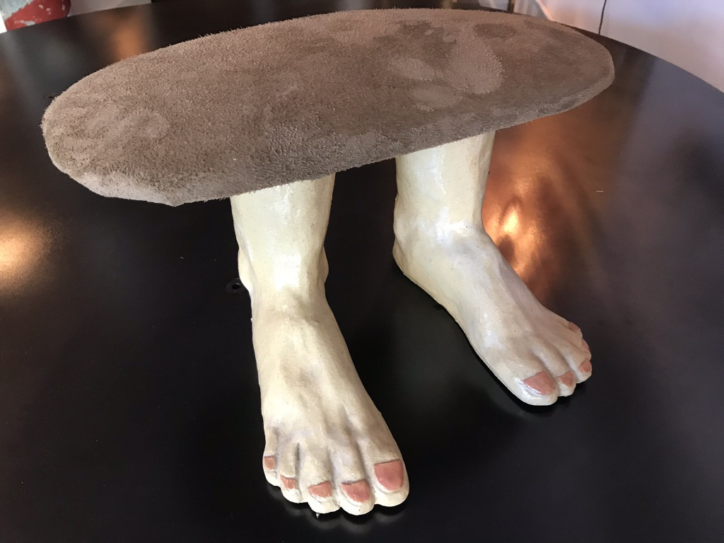 Ceramic and Suede Foot-Stool